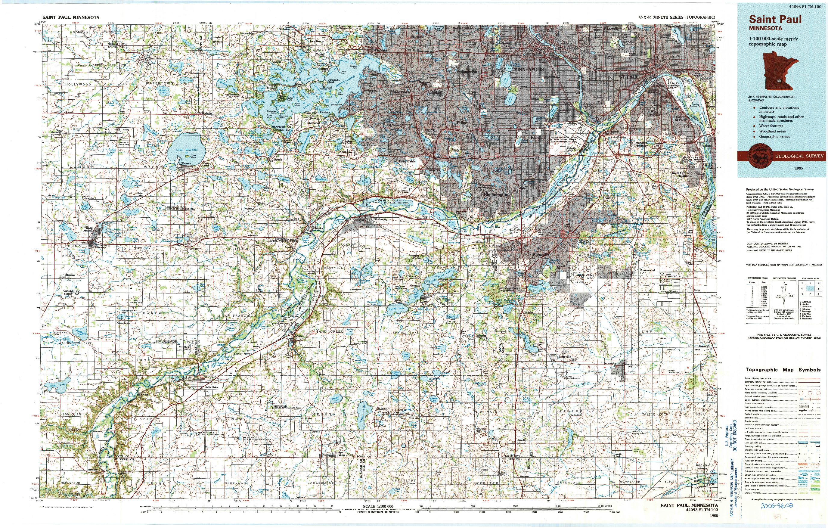 USGS 1:100000-SCALE QUADRANGLE FOR SAINT PAUL, MN 1985