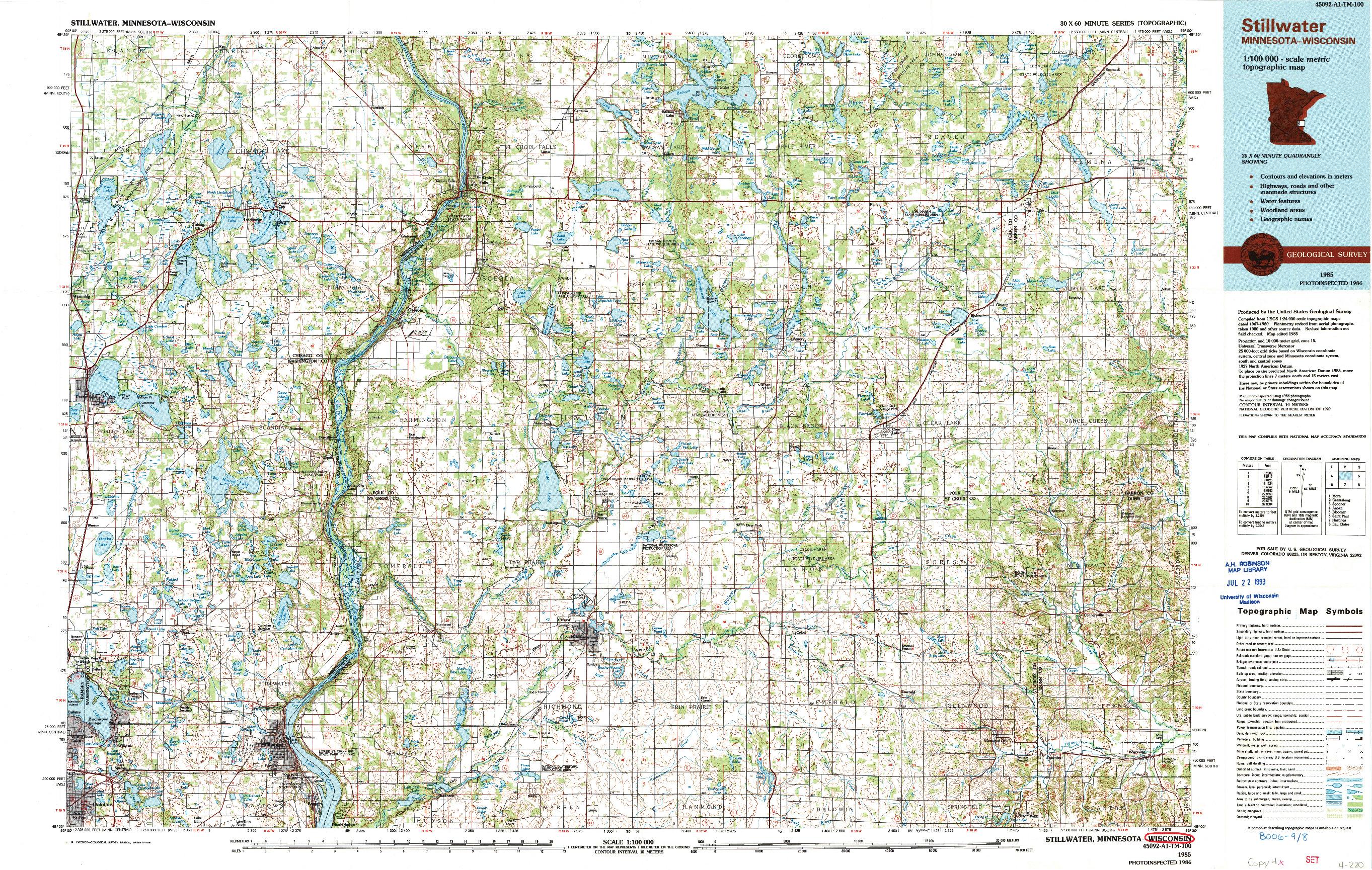 USGS 1:100000-SCALE QUADRANGLE FOR STILLWATER, MN 1985