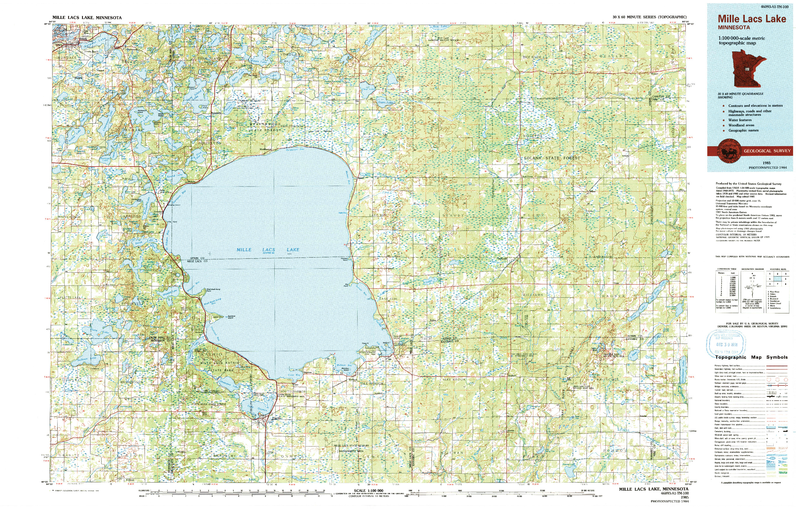 USGS 1:100000-SCALE QUADRANGLE FOR MILLE LACS LAKE, MN 1985