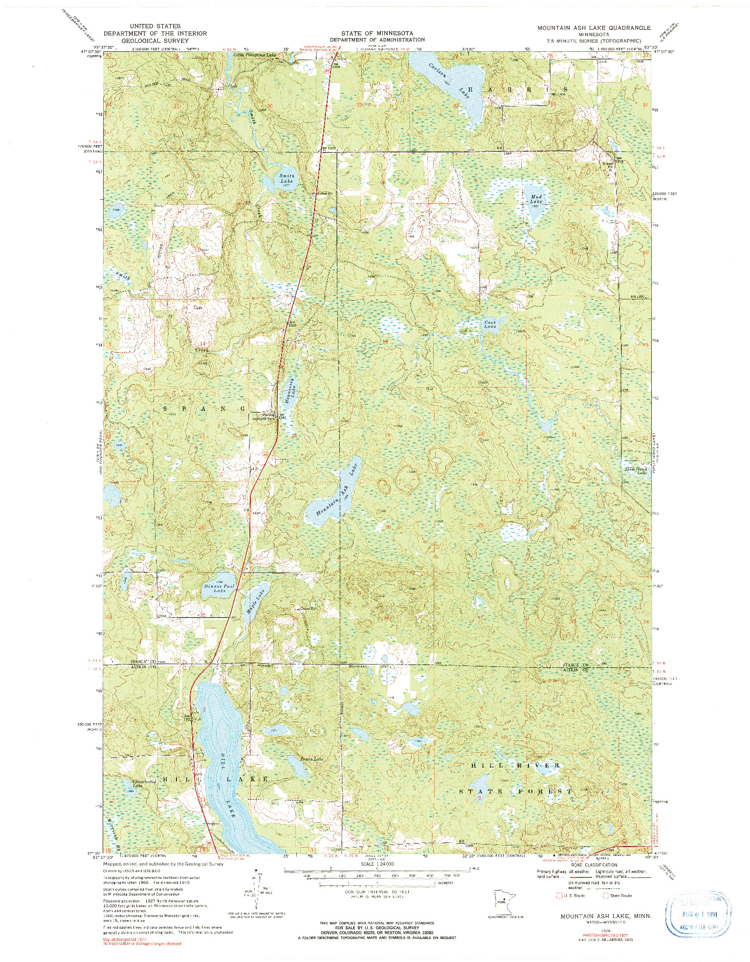 USGS 1:24000-SCALE QUADRANGLE FOR MOUNTAIN ASH LAKE, MN 1970