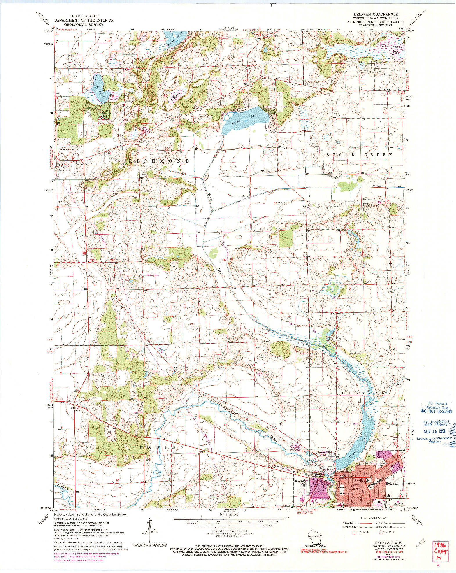 USGS 1:24000-SCALE QUADRANGLE FOR DELAVAN, WI 1960