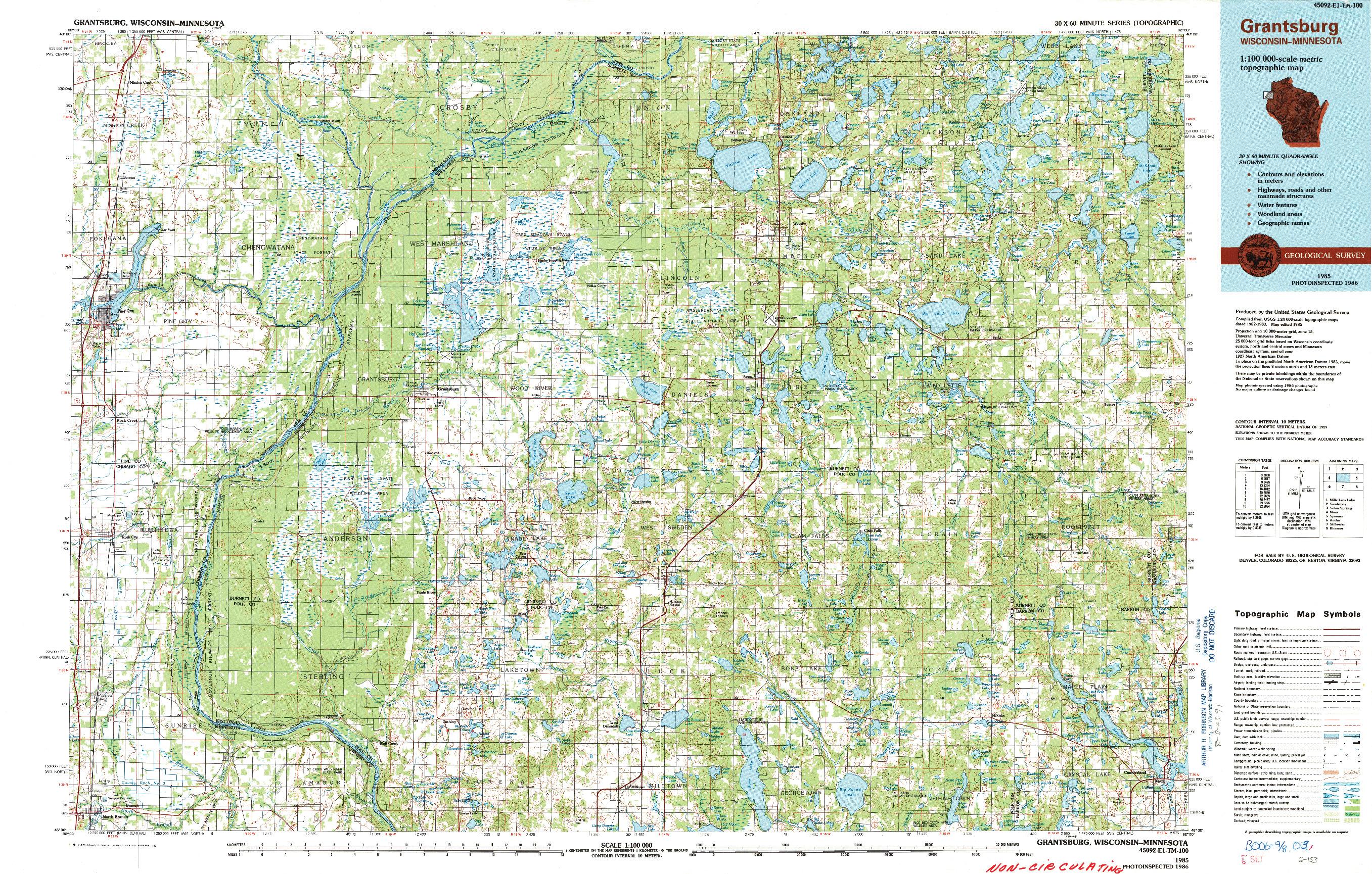 USGS 1:100000-SCALE QUADRANGLE FOR GRANTSBURG, WI 1985