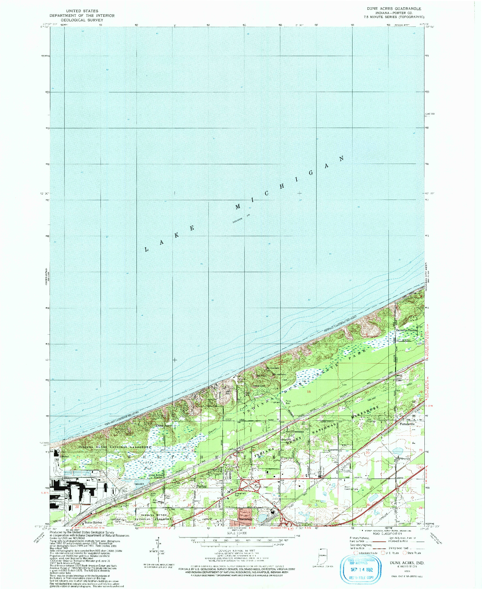 USGS 1:24000-SCALE QUADRANGLE FOR DUNE ACRES, IN 1991