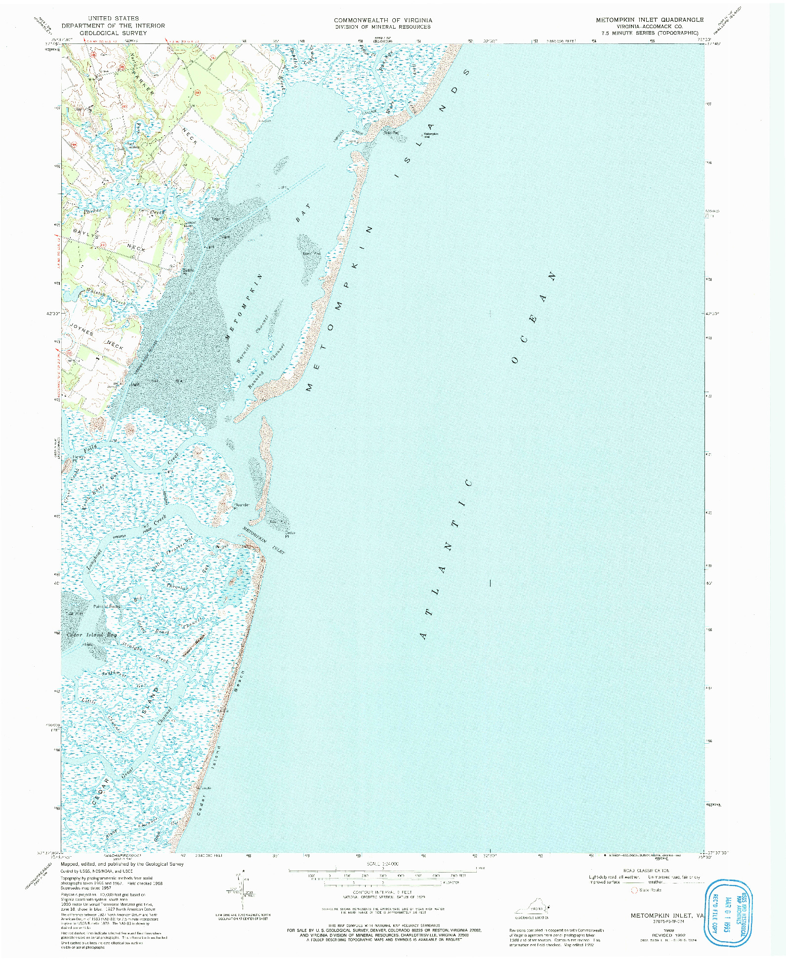 USGS 1:24000-SCALE QUADRANGLE FOR METOMPKIN INLET, VA 1968