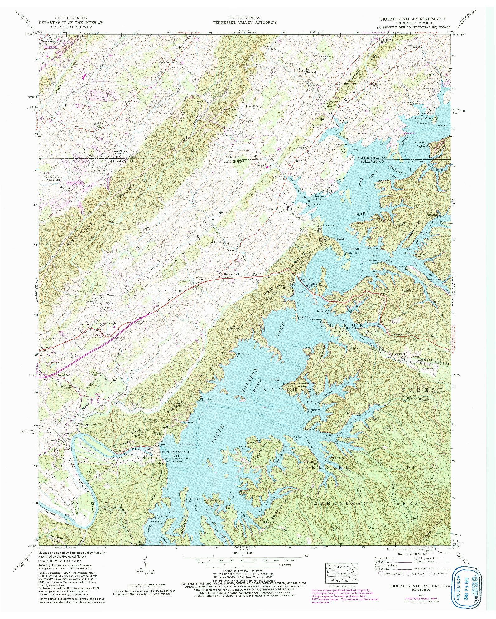 USGS 1:24000-SCALE QUADRANGLE FOR HOLSTON VALLEY, TN 1960