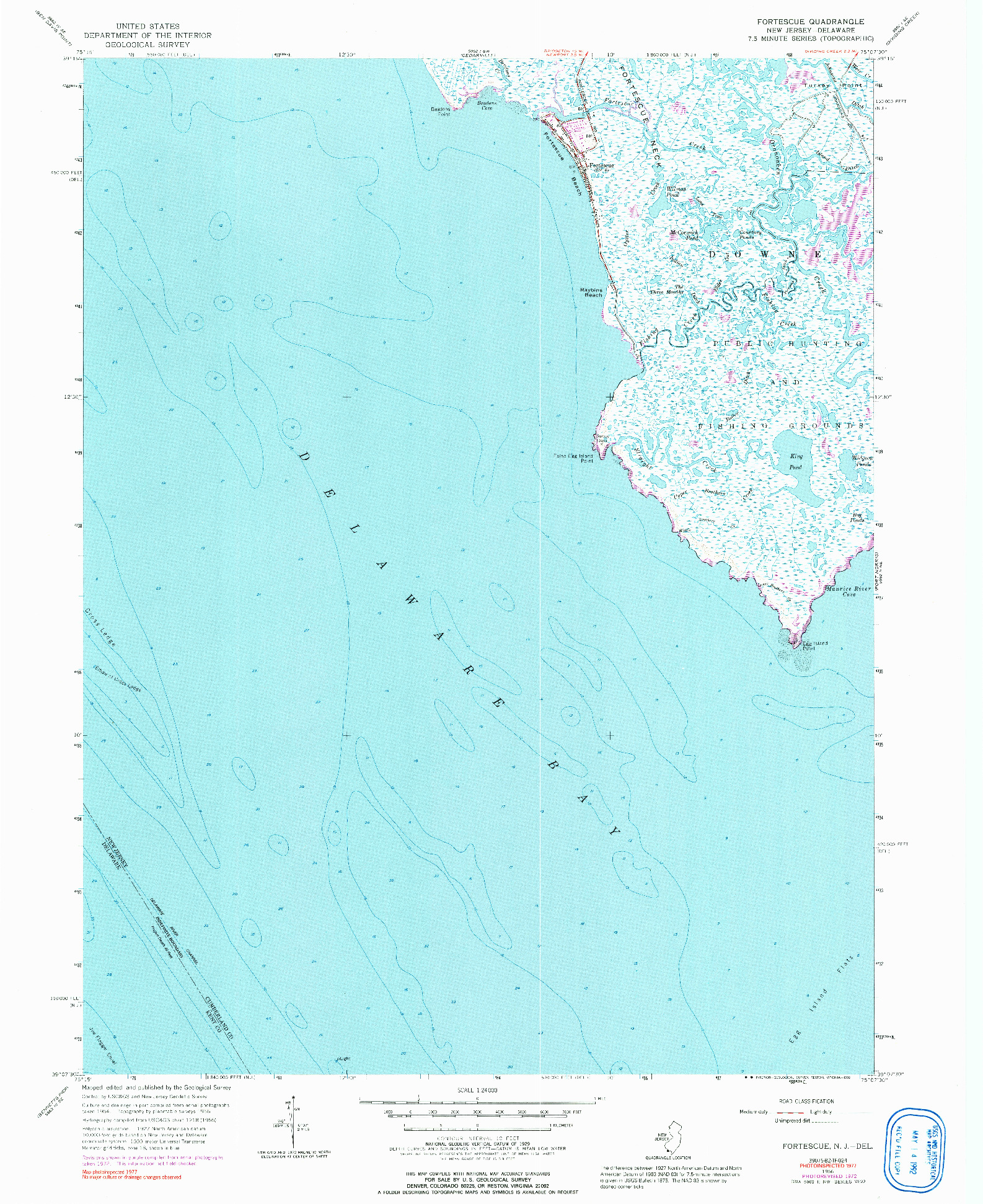 USGS 1:24000-SCALE QUADRANGLE FOR FORTESCUE, NJ 1956