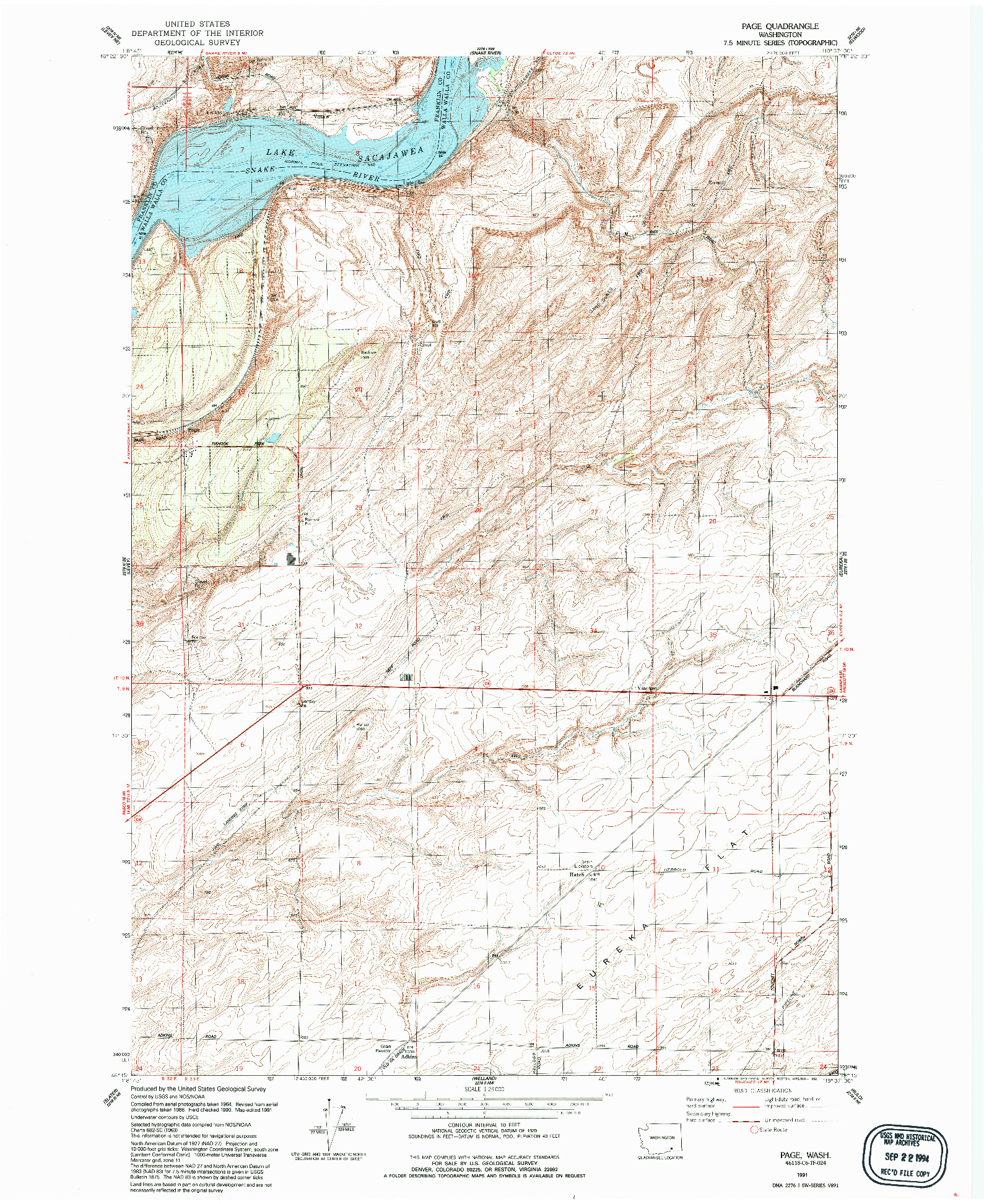 USGS 1:24000-SCALE QUADRANGLE FOR PAGE, WA 1991