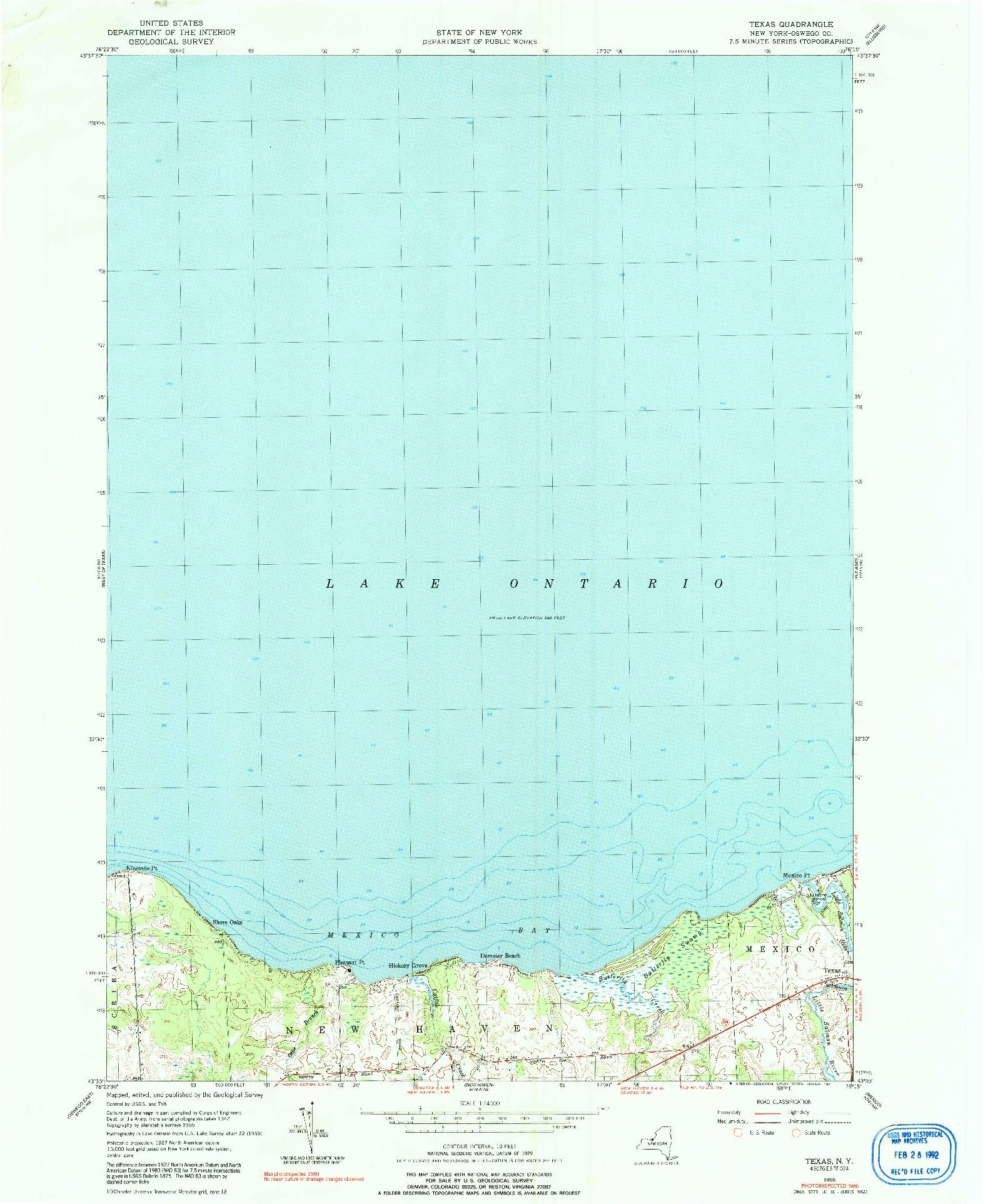 USGS 1:24000-SCALE QUADRANGLE FOR TEXAS, NY 1955