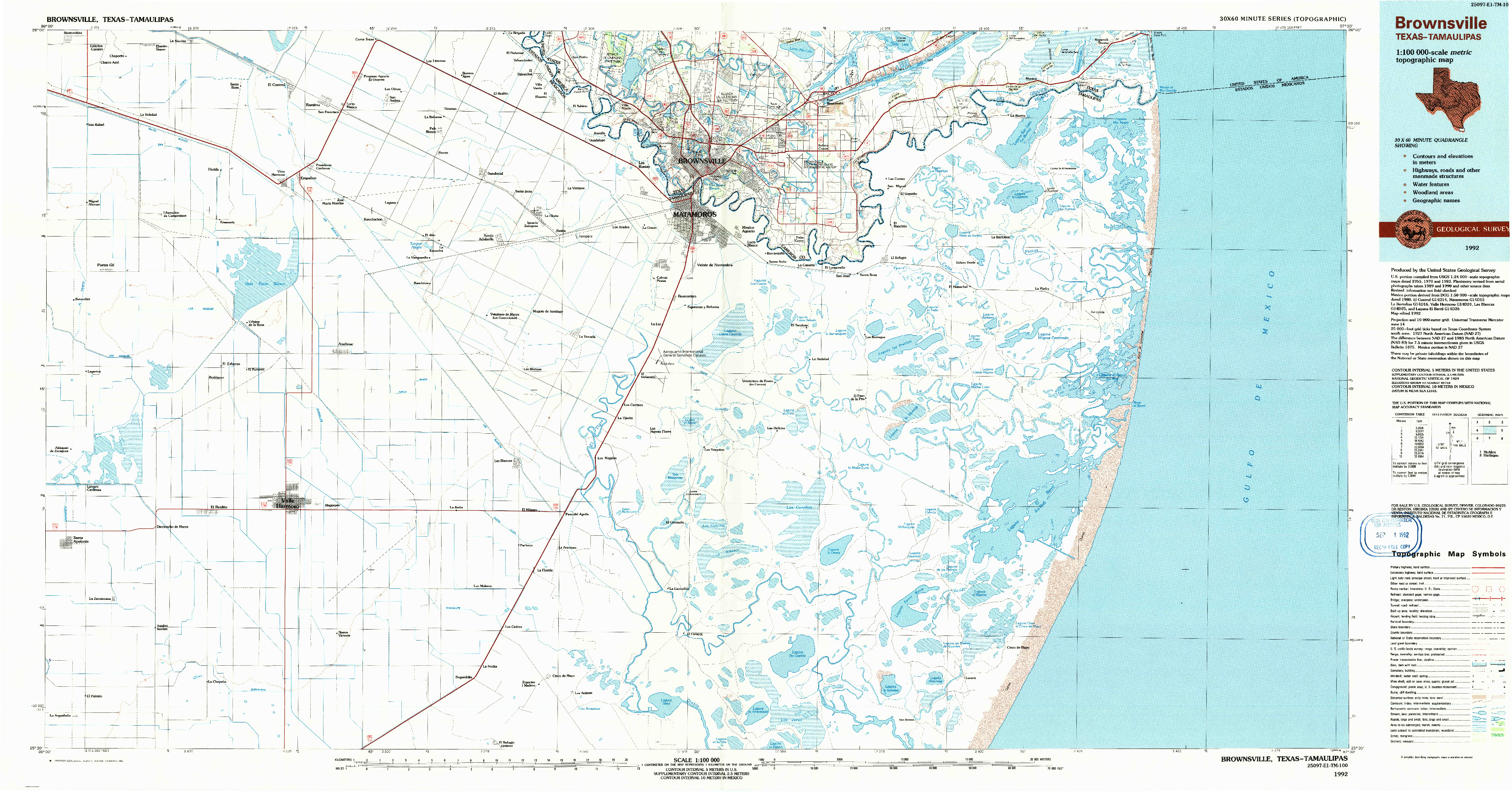 USGS 1:100000-SCALE QUADRANGLE FOR BROWNSVILLE, TX 1992