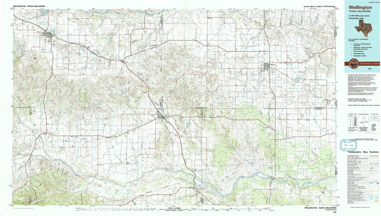 USGS 1:100000-SCALE QUADRANGLE FOR WELLINGTON, TX 1986