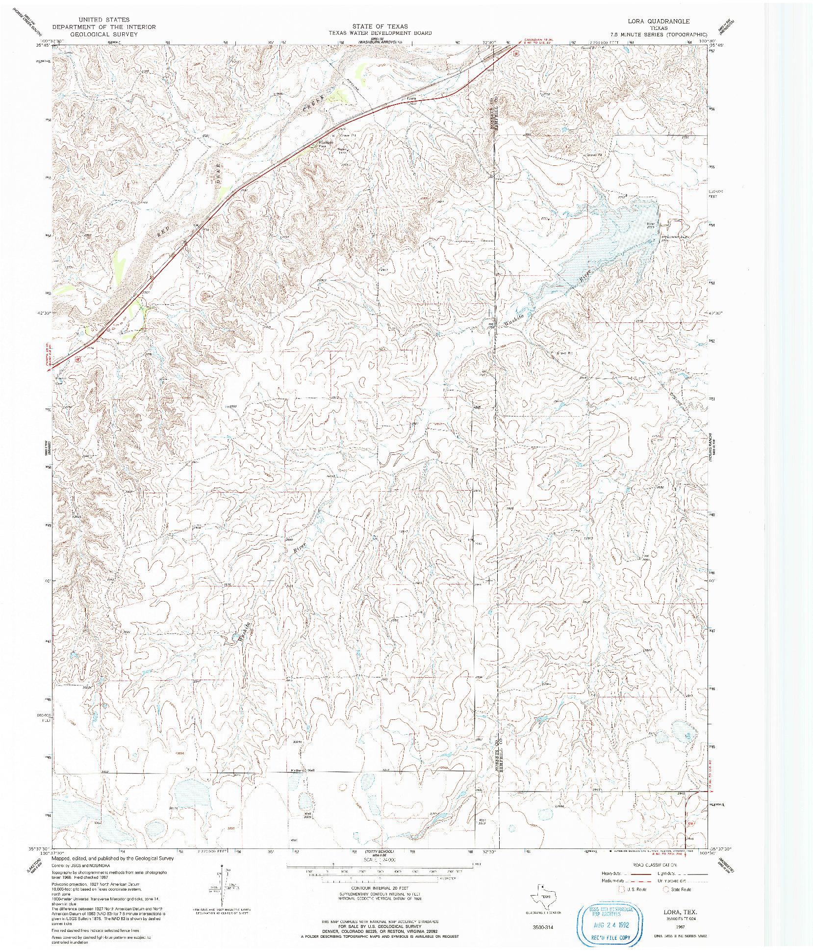 USGS 1:24000-SCALE QUADRANGLE FOR LORA, TX 1967