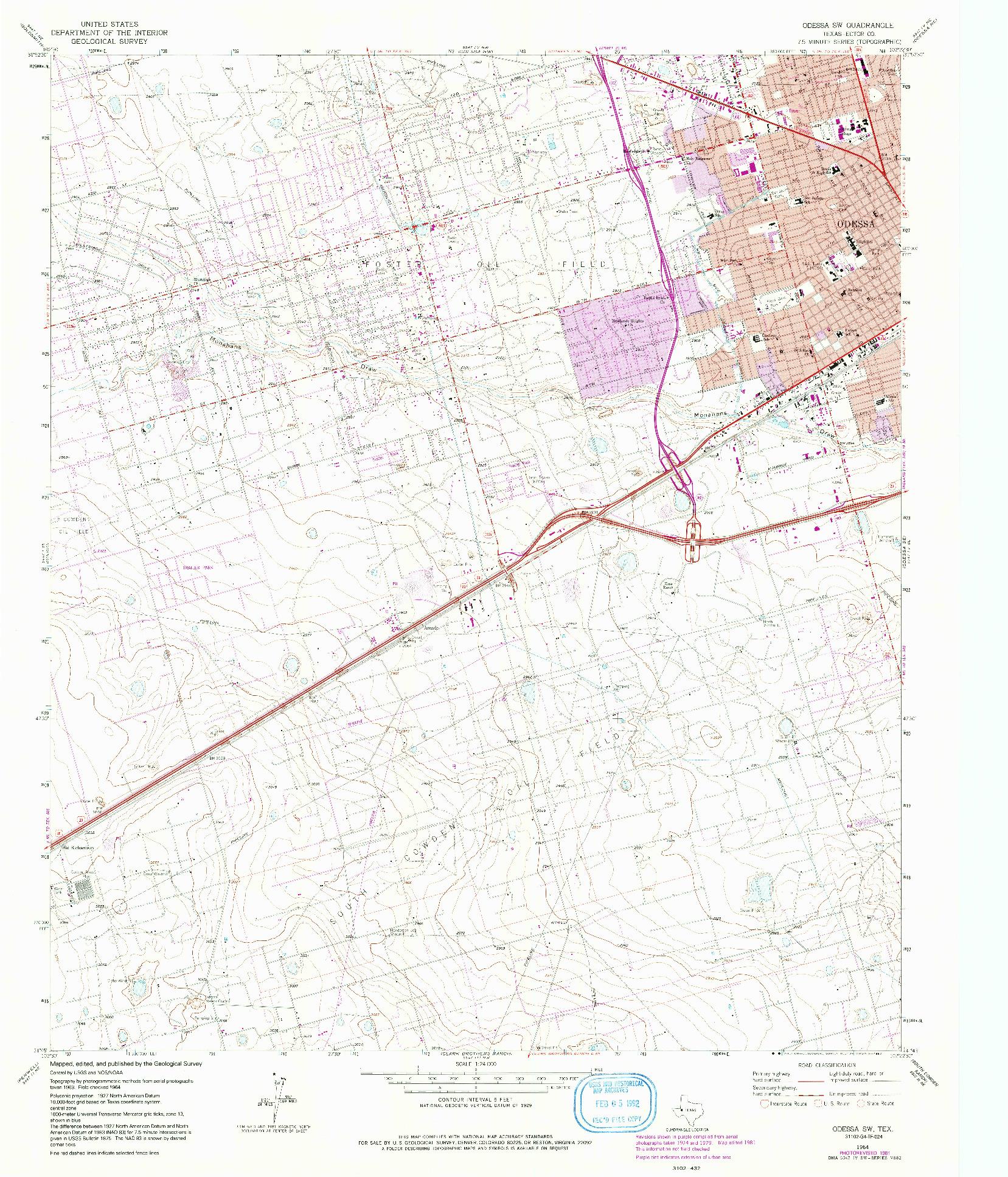 USGS 1:24000-SCALE QUADRANGLE FOR ODESSA SW, TX 1964