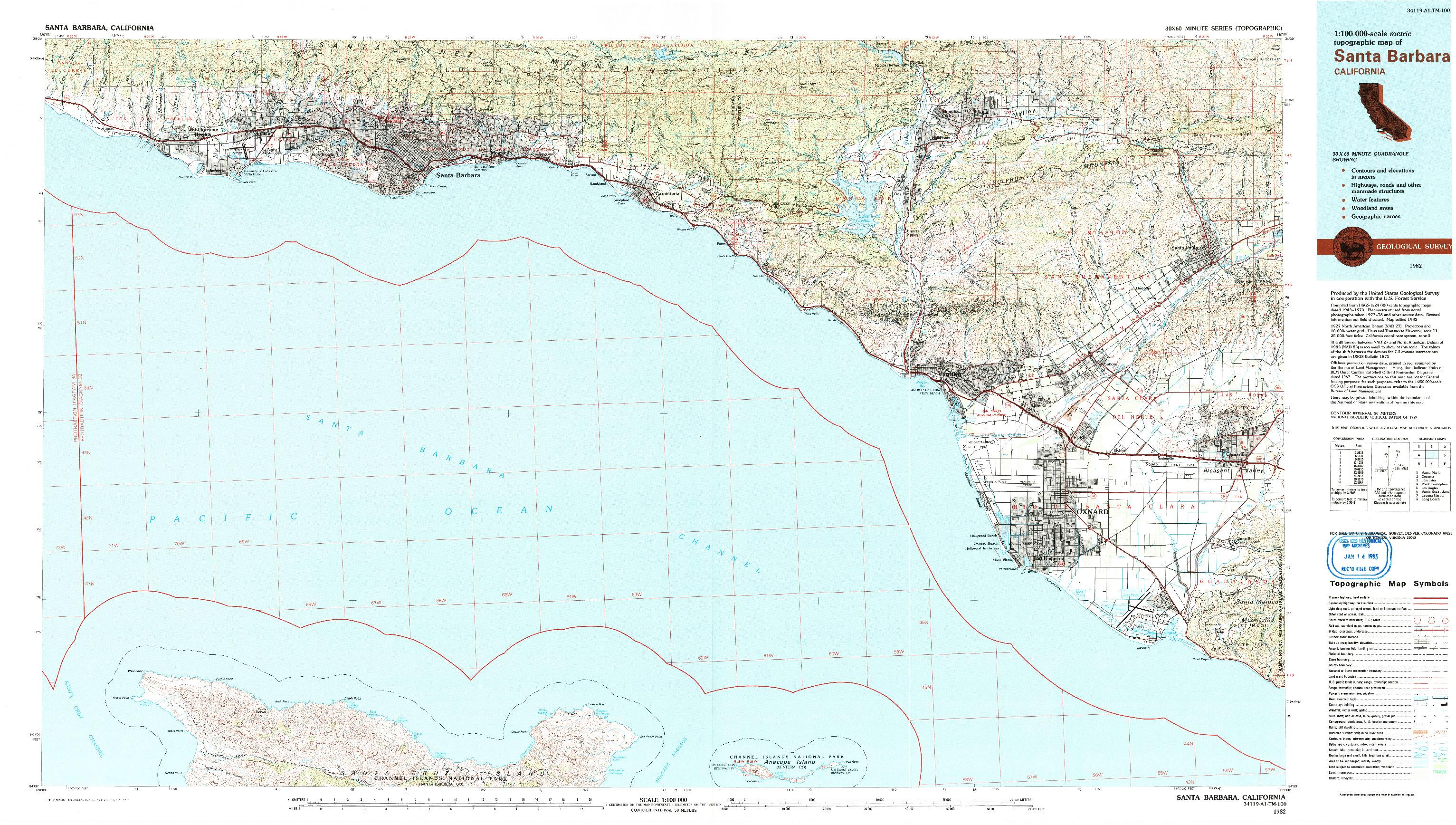 USGS 1:100000-SCALE QUADRANGLE FOR SANTA BARBARA, CA 1982