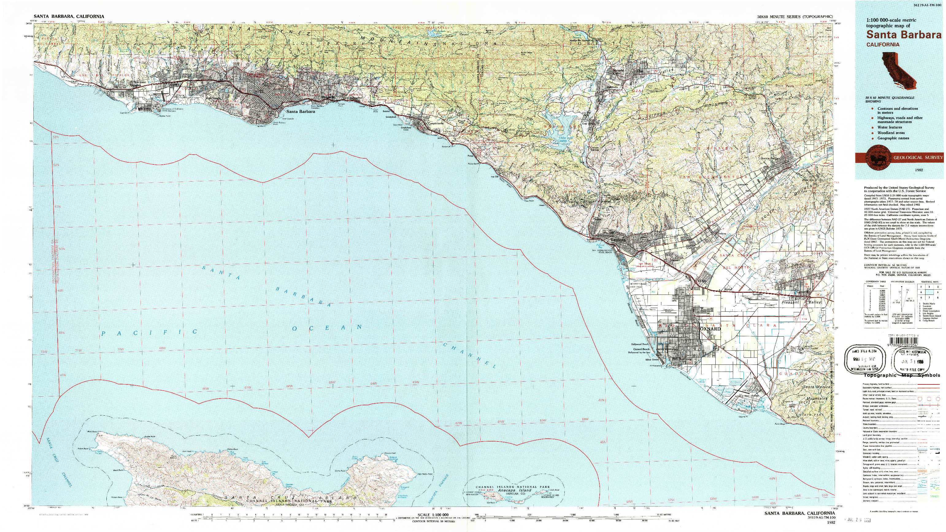 USGS 1:100000-SCALE QUADRANGLE FOR SANTA BARBARA, CA 1982