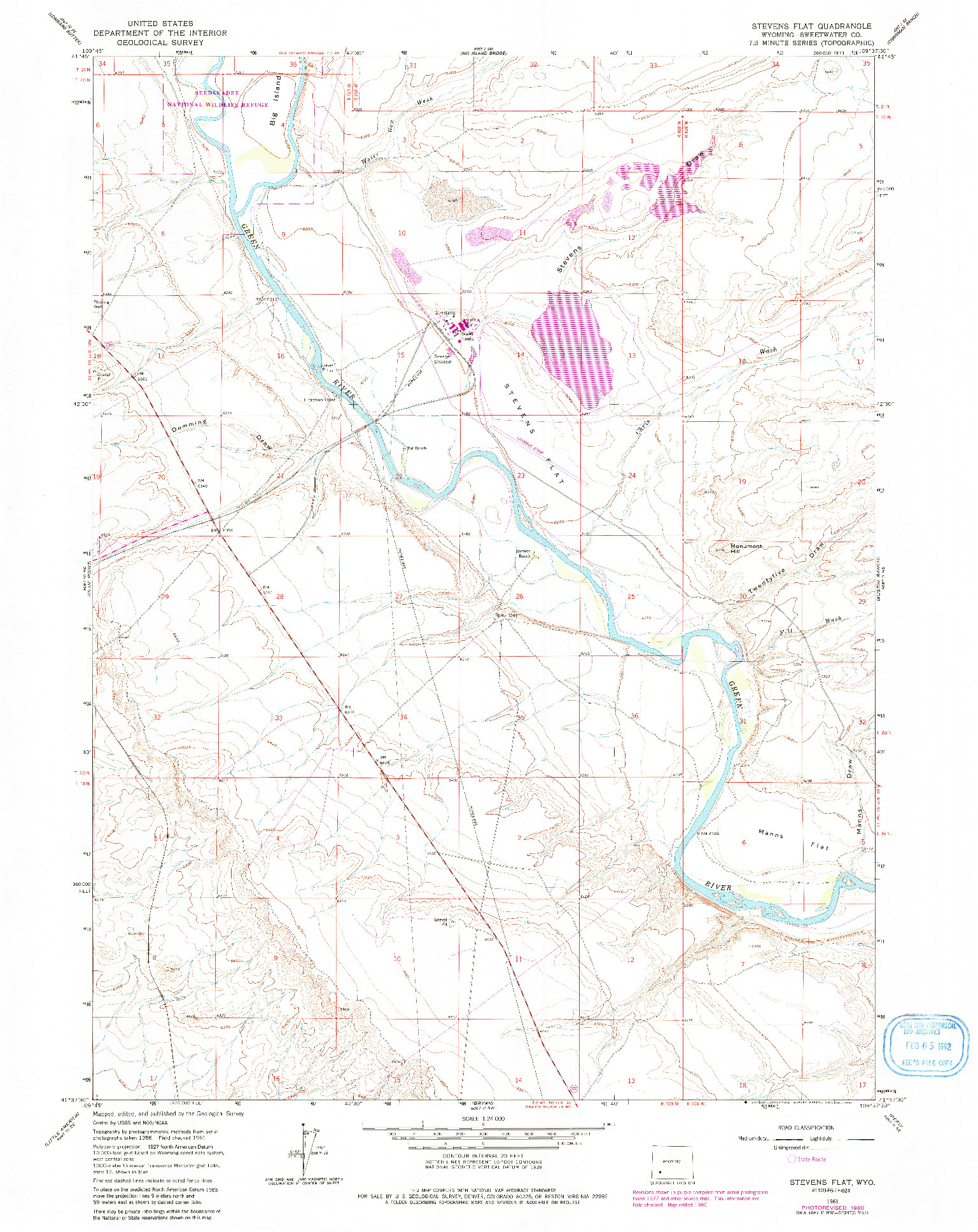 USGS 1:24000-SCALE QUADRANGLE FOR STEVENS FLAT, WY 1961