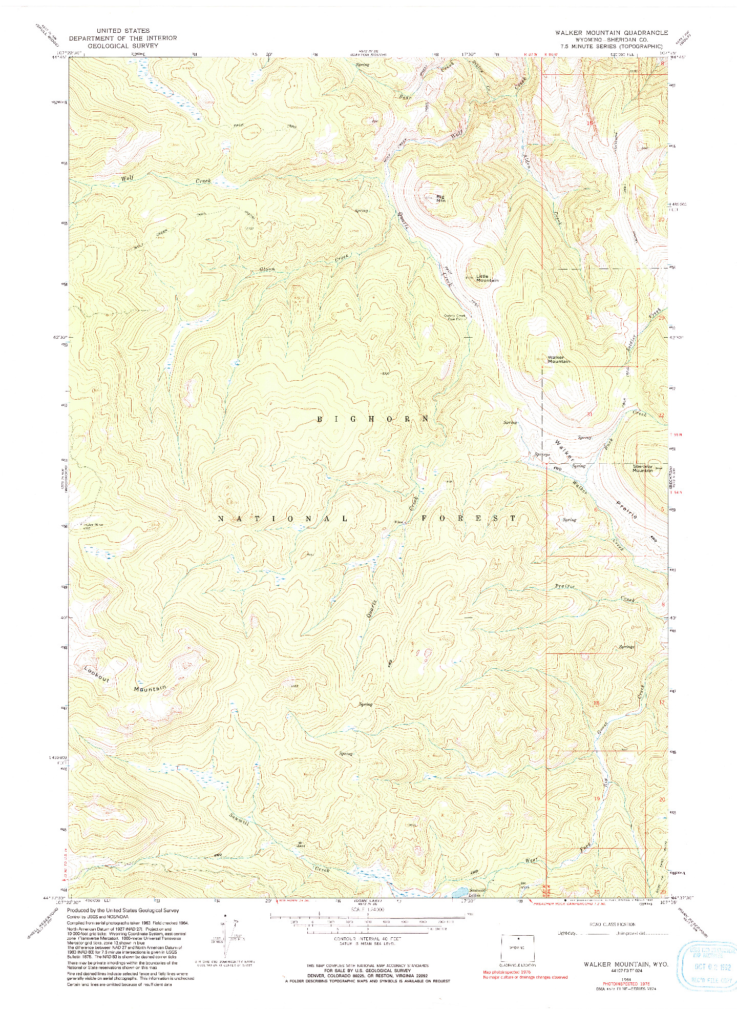 USGS 1:24000-SCALE QUADRANGLE FOR WALKER MOUNTAIN, WY 1964