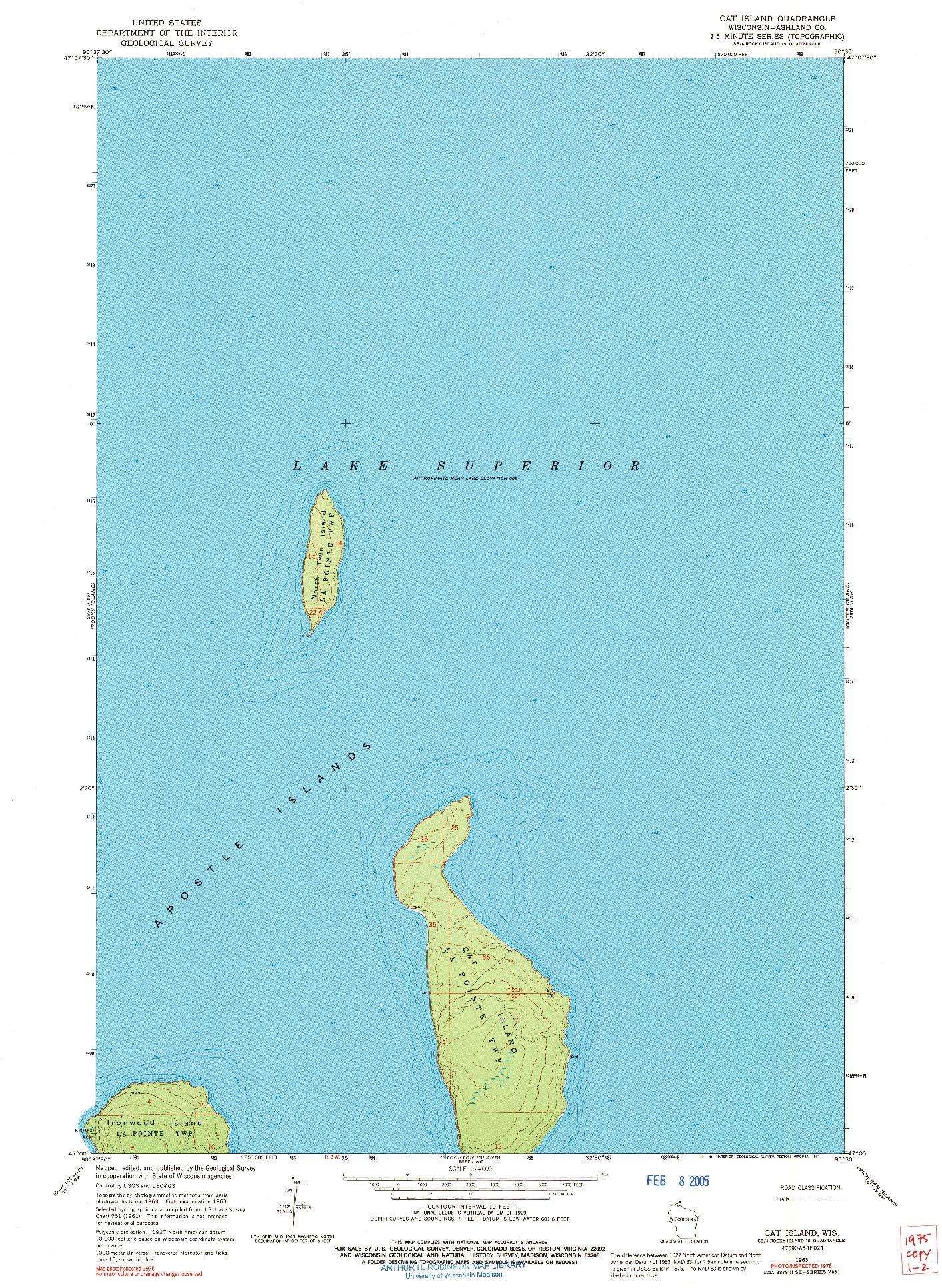 USGS 1:24000-SCALE QUADRANGLE FOR CAT ISLAND, WI 1963