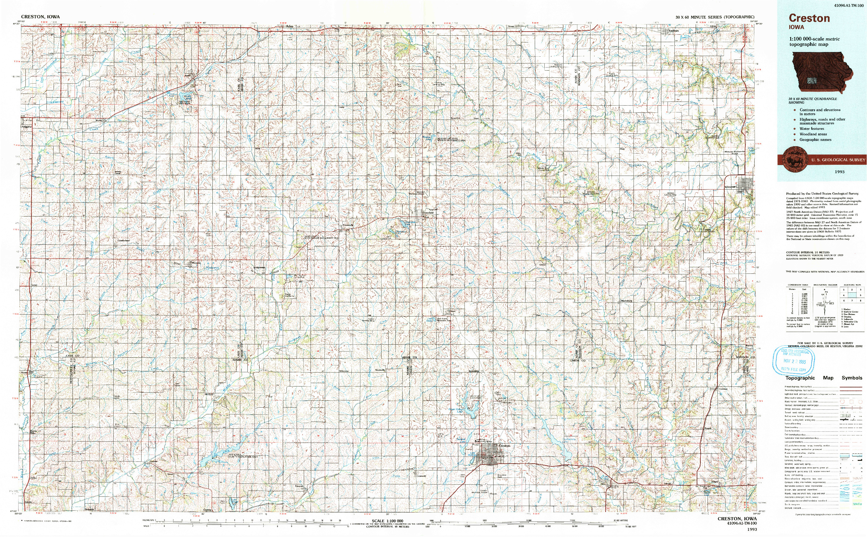 USGS 1:100000-SCALE QUADRANGLE FOR CRESTON, IA 1993