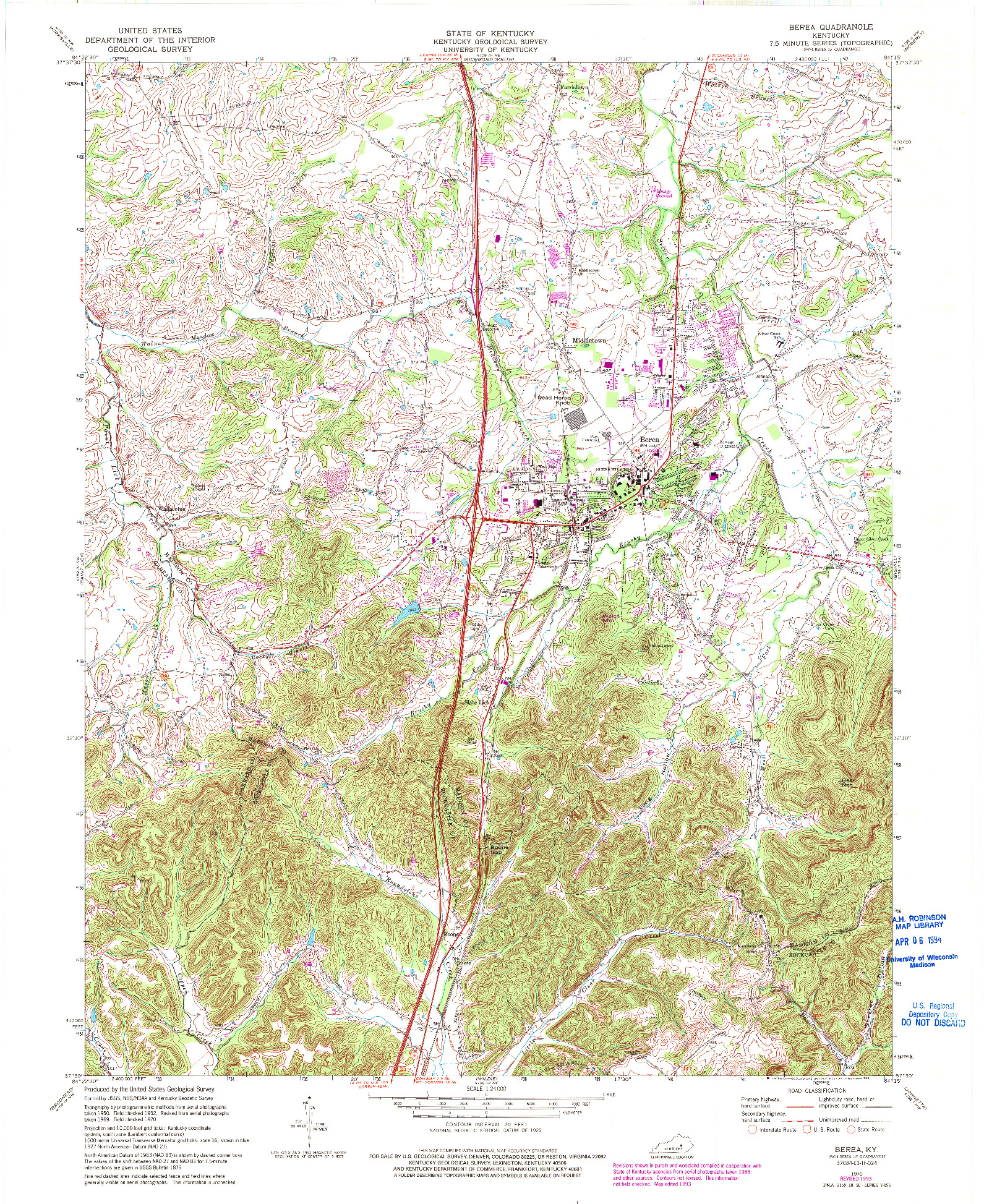 USGS 1:24000-SCALE QUADRANGLE FOR BEREA, KY 1970