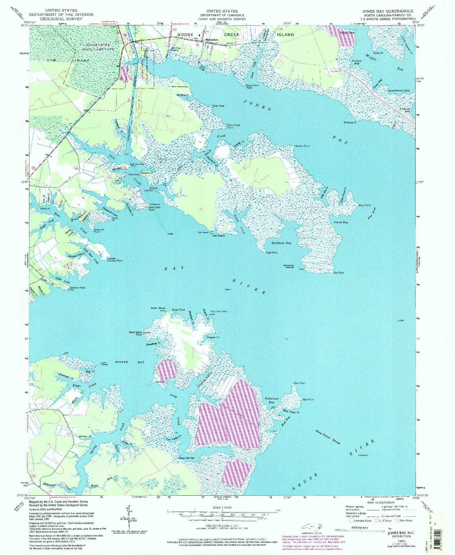 USGS 1:24000-SCALE QUADRANGLE FOR JONES BAY, NC 1950