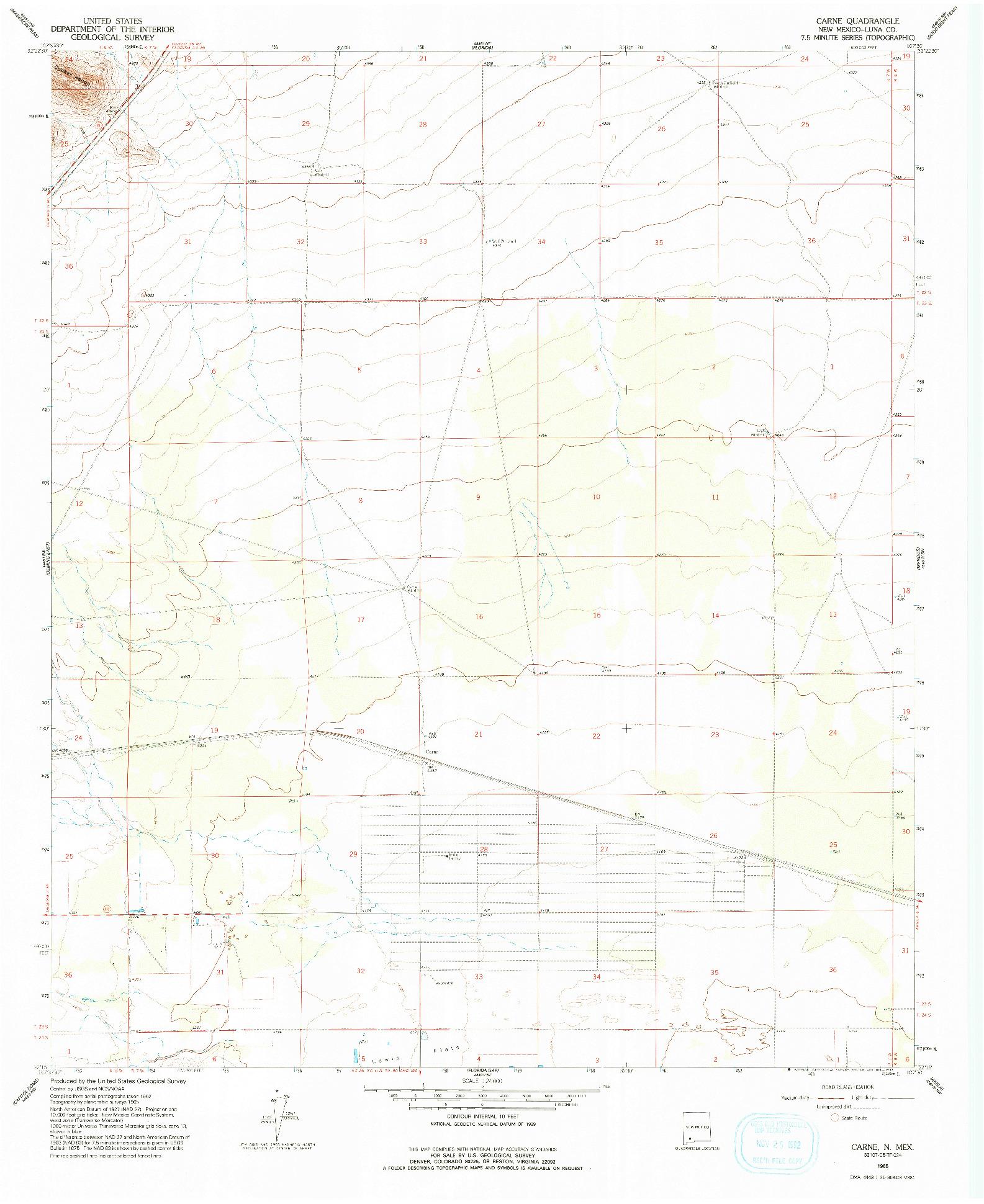 USGS 1:24000-SCALE QUADRANGLE FOR CARNE, NM 1965