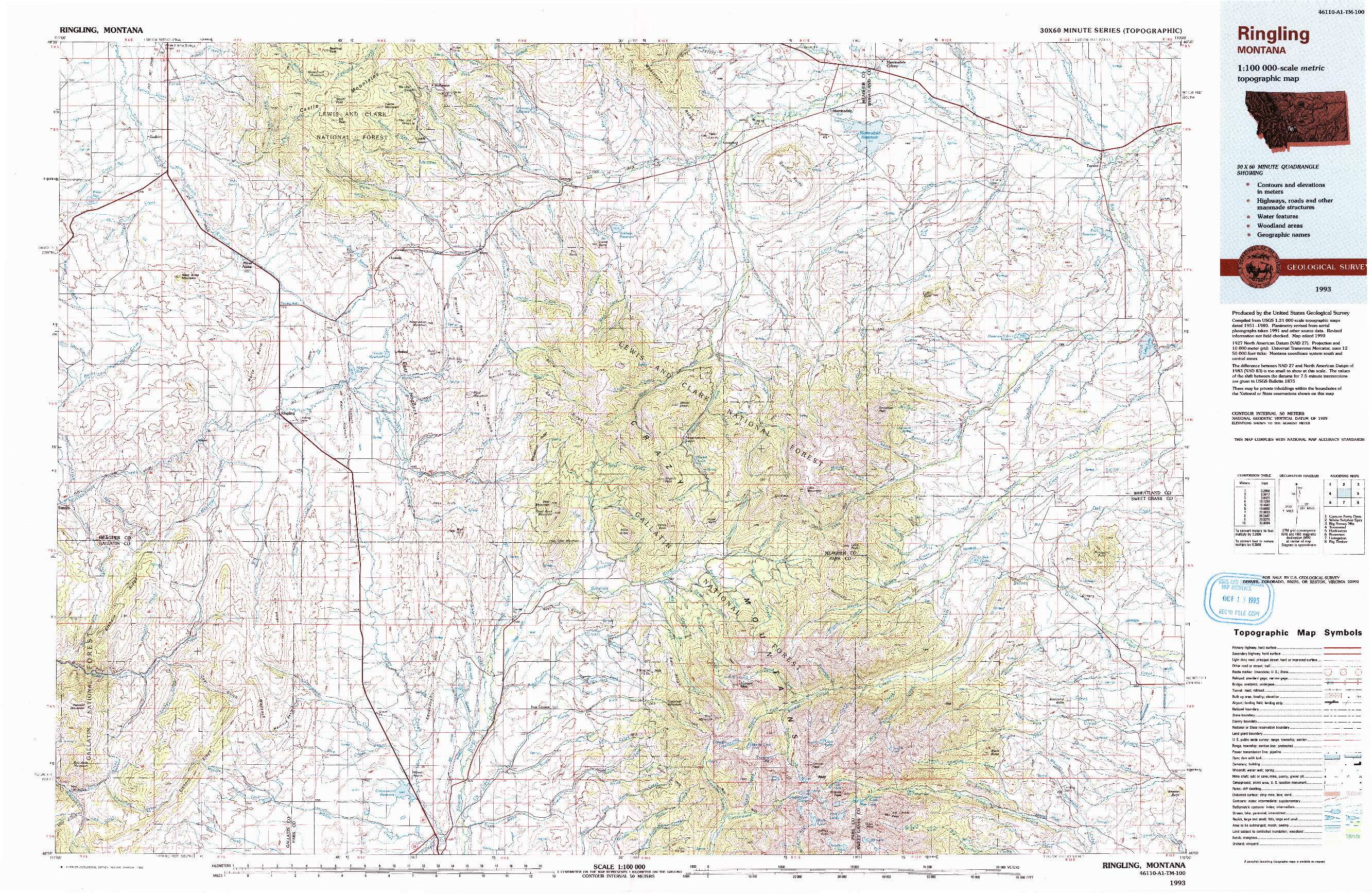 USGS 1:100000-SCALE QUADRANGLE FOR RINGLING, MT 1993