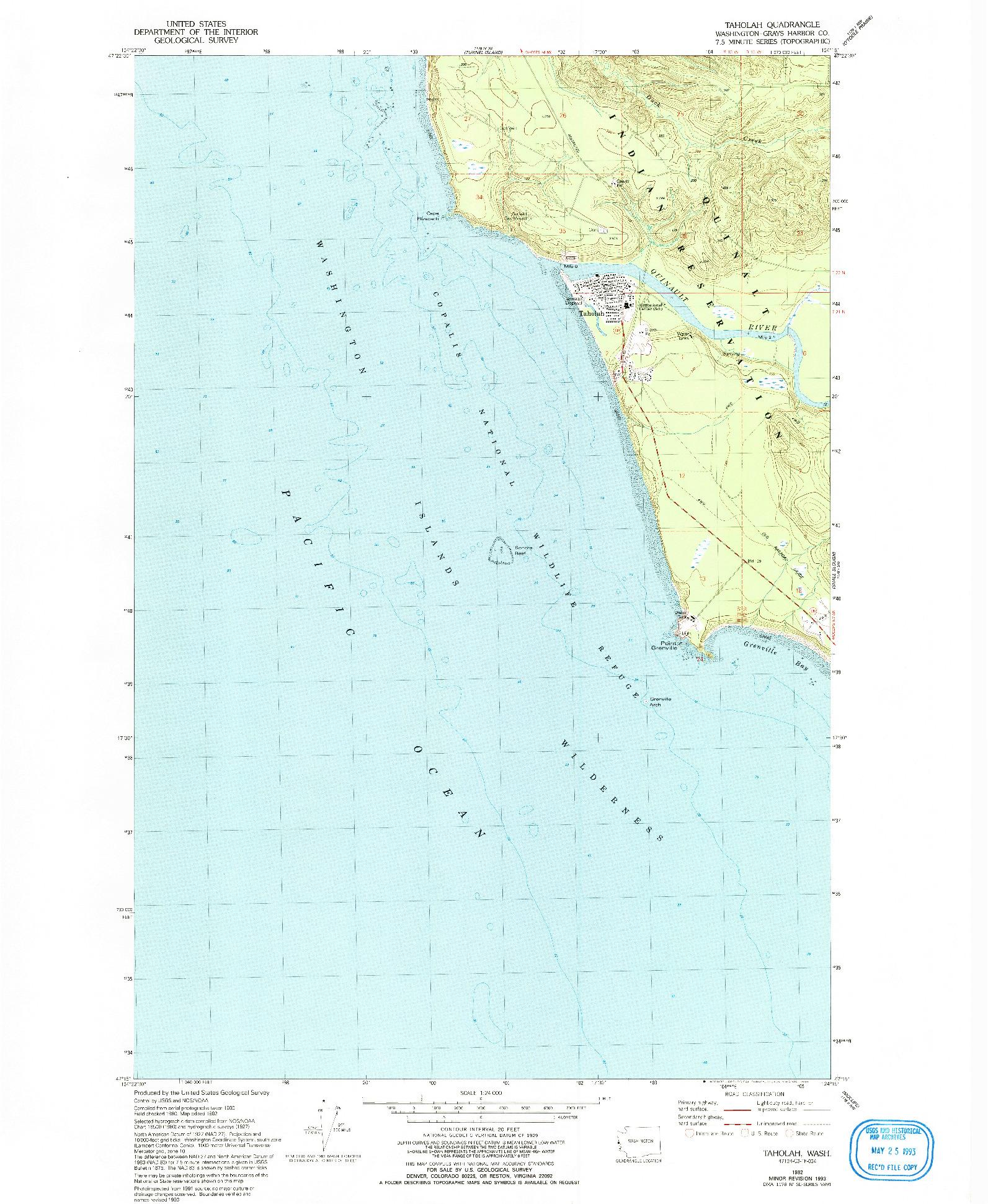 USGS 1:24000-SCALE QUADRANGLE FOR TAHOLAH, WA 1982