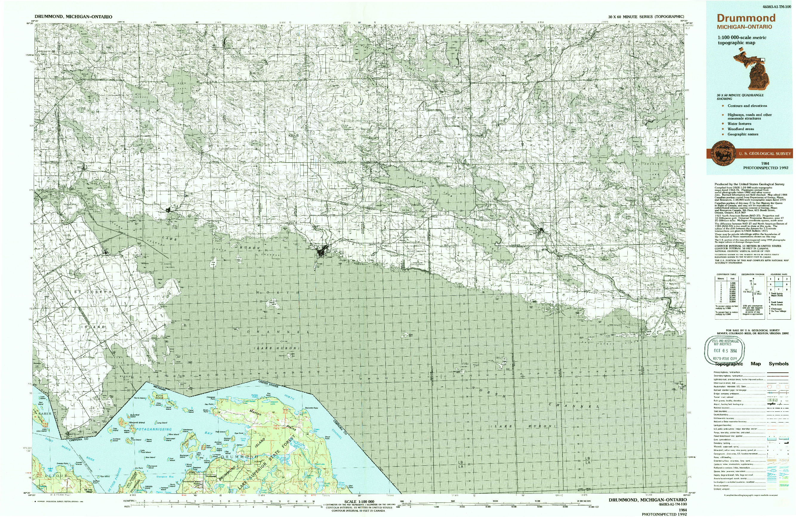 USGS 1:100000-SCALE QUADRANGLE FOR DRUMMOND, MI 1984