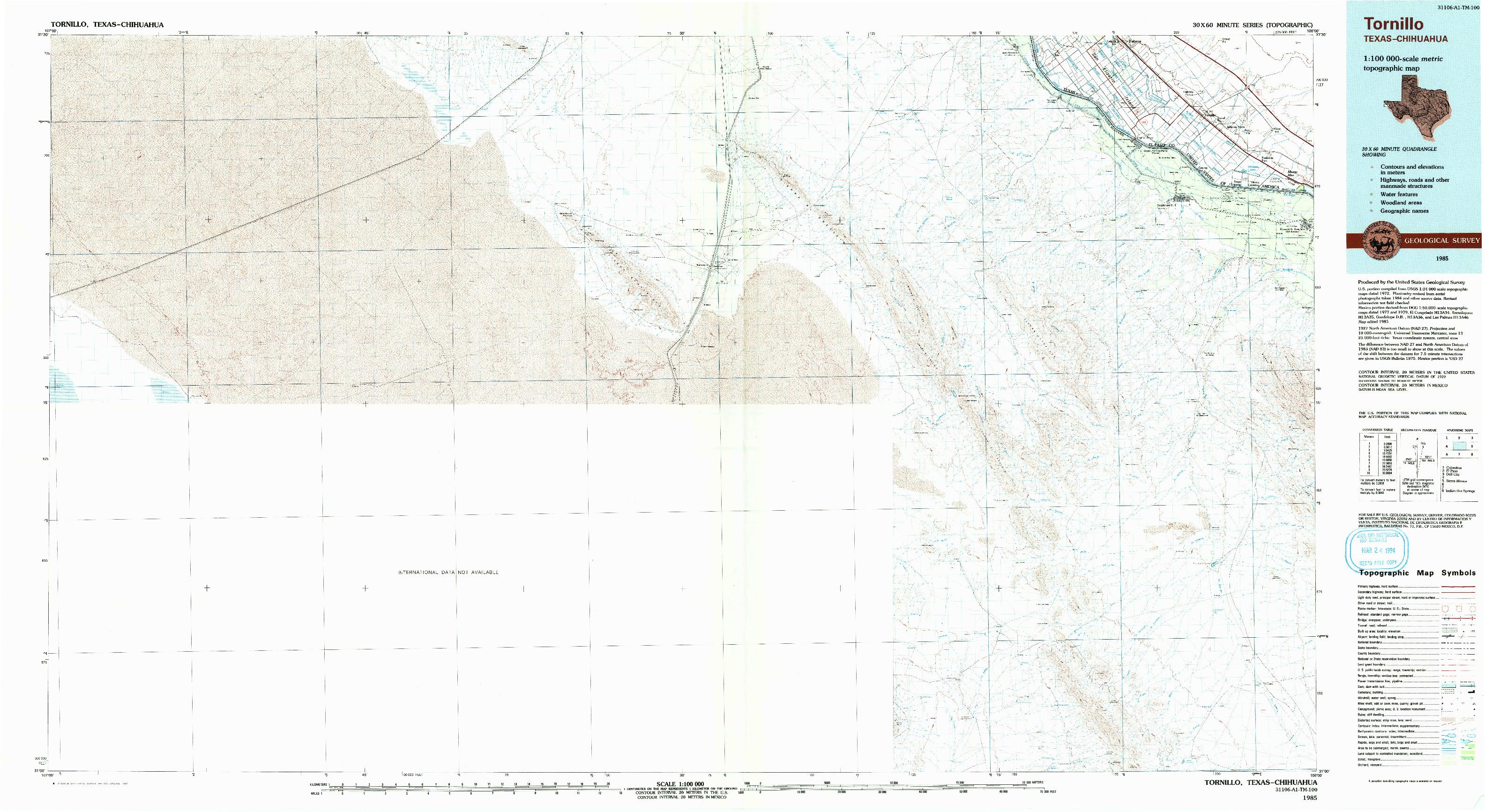 USGS 1:100000-SCALE QUADRANGLE FOR TORNILLO, TX 1985