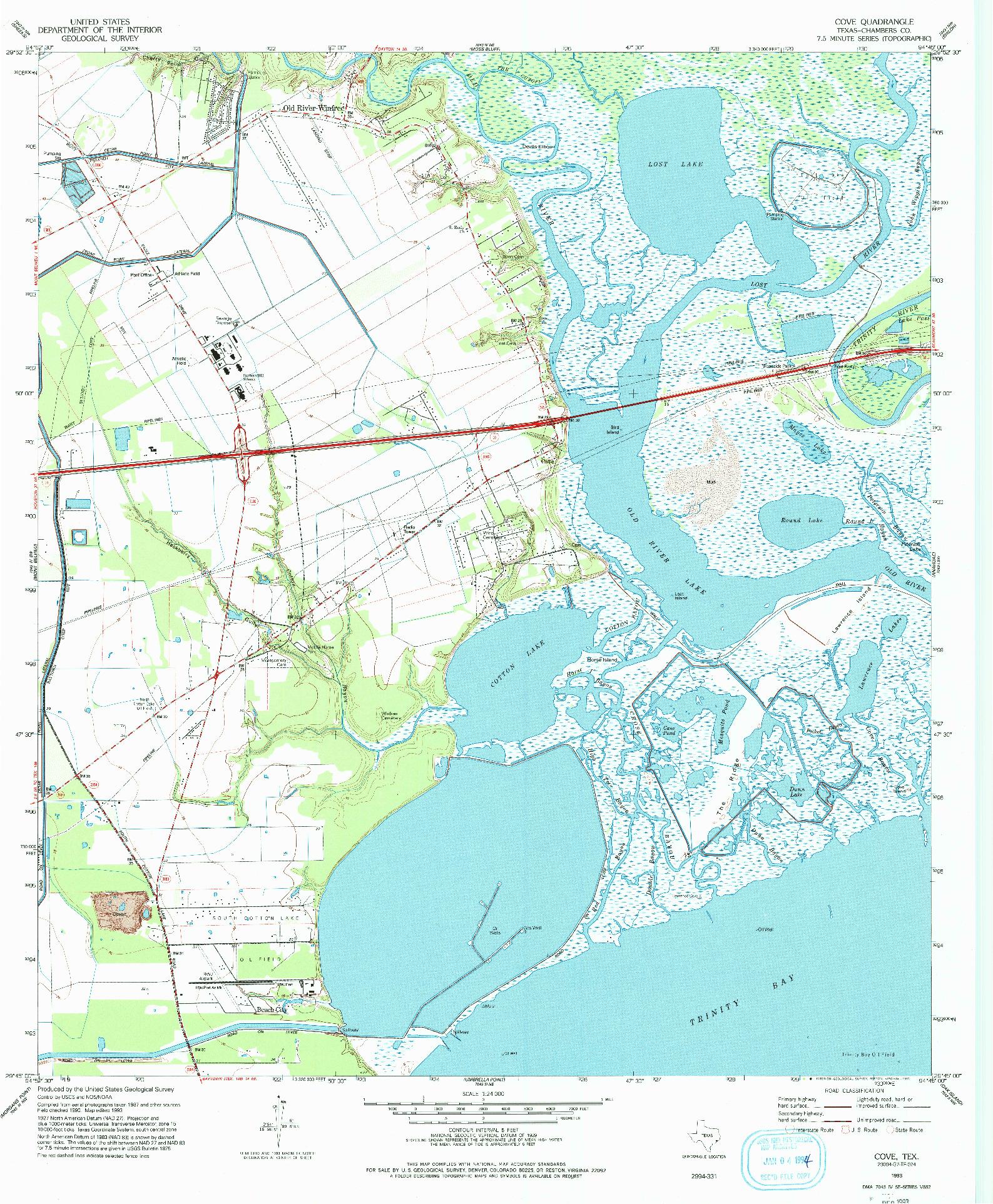 USGS 1:24000-SCALE QUADRANGLE FOR COVE, TX 1993