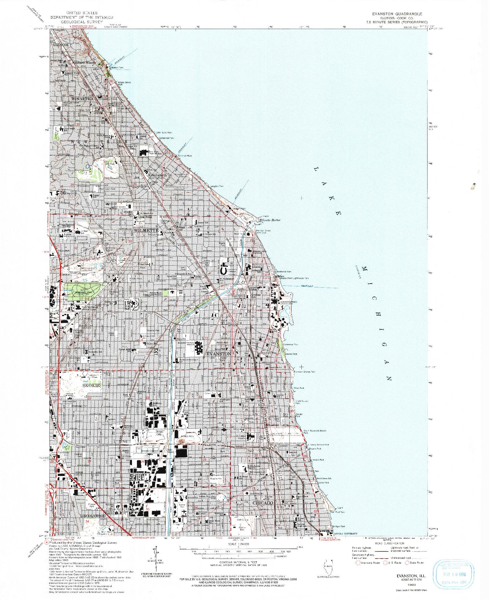 USGS 1:24000-SCALE QUADRANGLE FOR EVANSTON, IL 1993