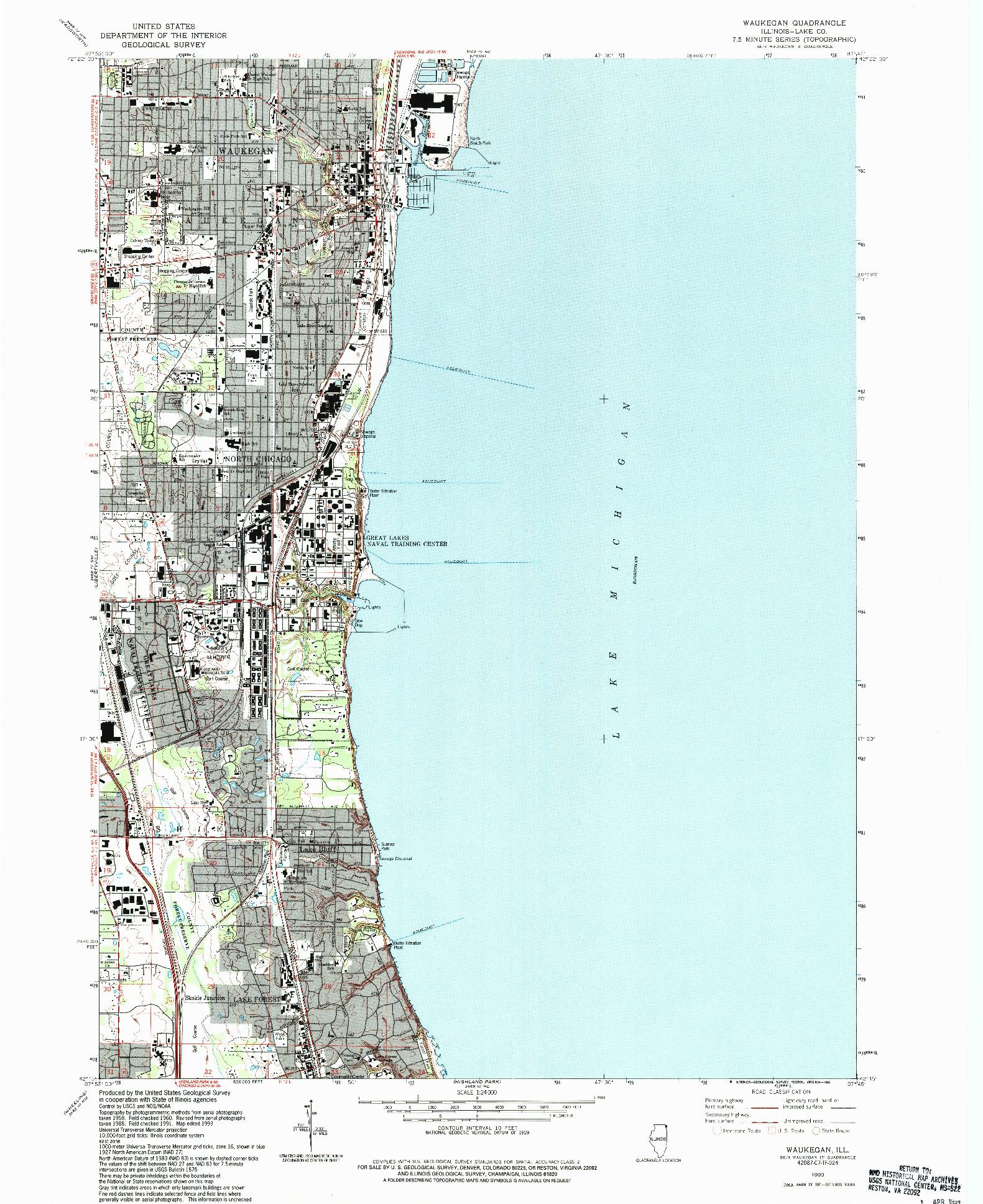 USGS 1:24000-SCALE QUADRANGLE FOR WAUKEGAN, IL 1993