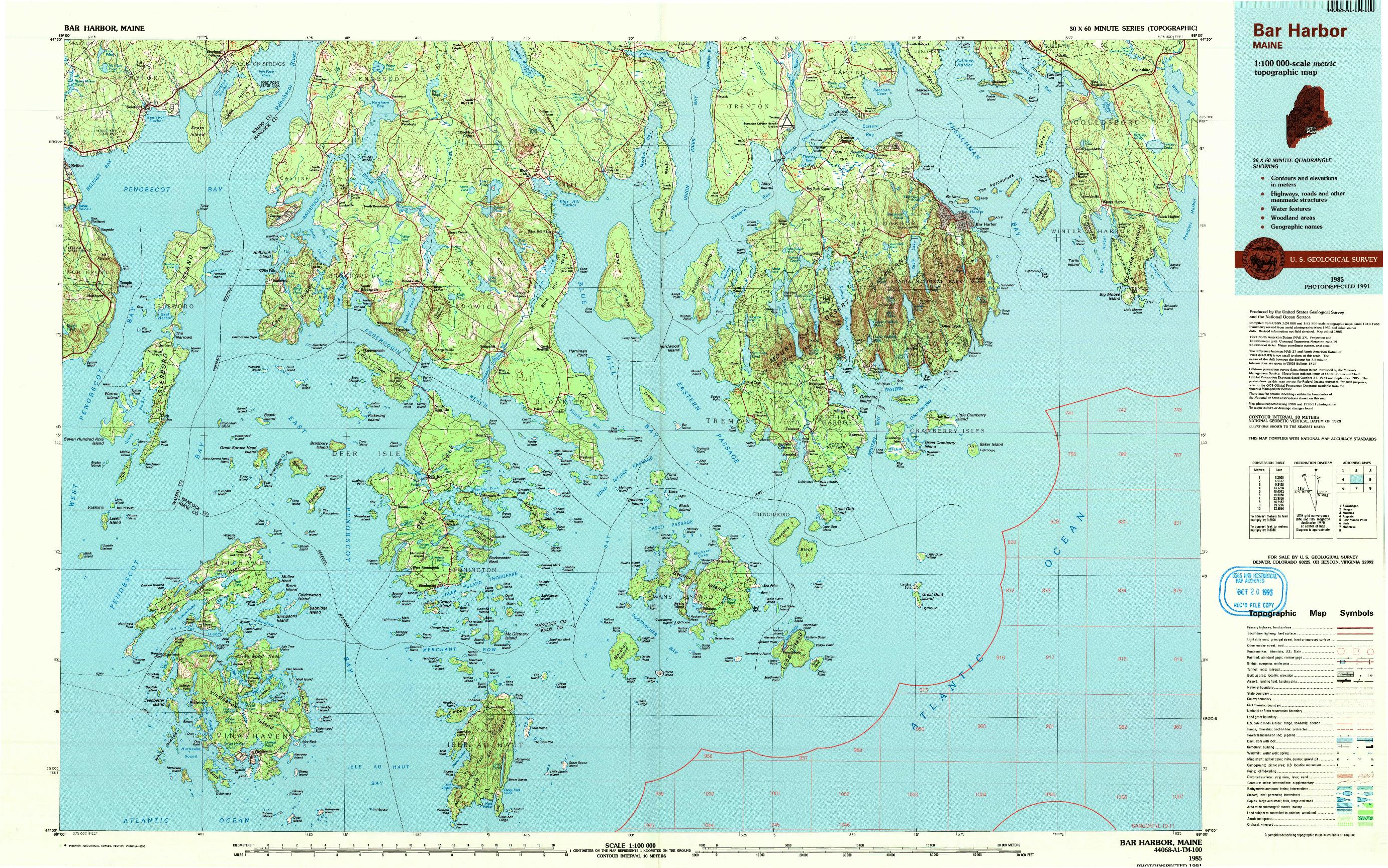 USGS 1:100000-SCALE QUADRANGLE FOR BAR HARBOR, ME 1985