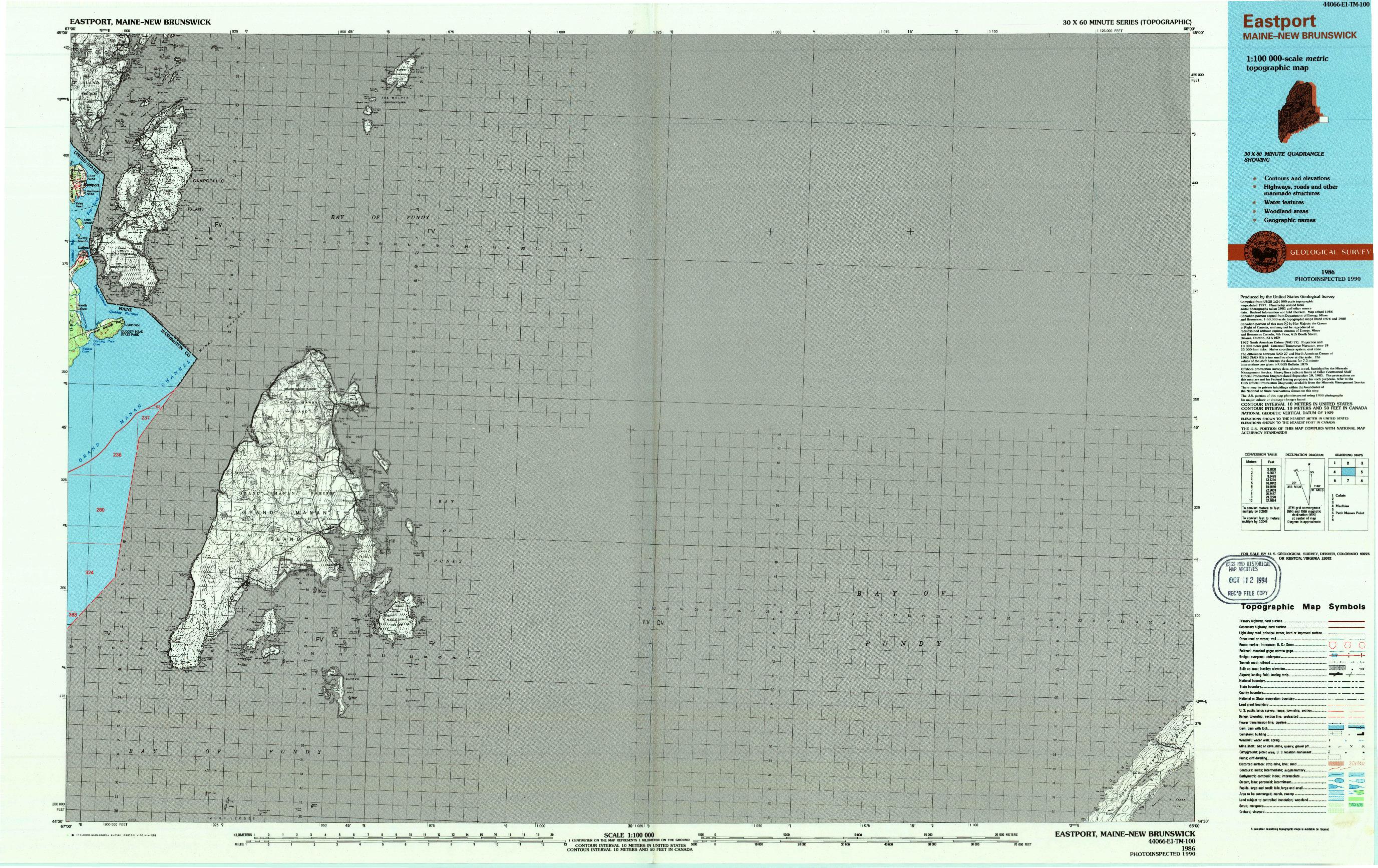 USGS 1:100000-SCALE QUADRANGLE FOR EASTPORT, ME 1986