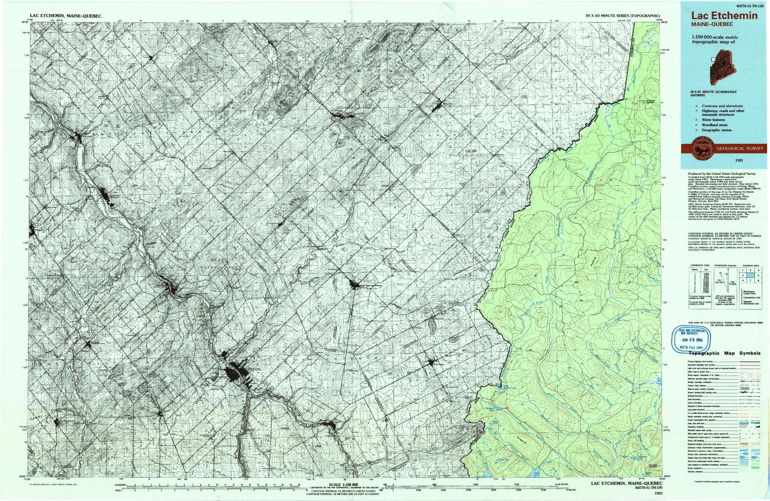 USGS 1:100000-SCALE QUADRANGLE FOR LAC ETCHEMIN, ME 1993