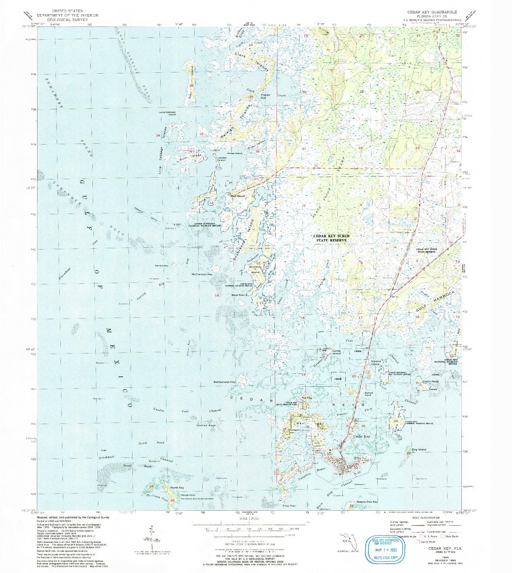 USGS 1:24000-SCALE QUADRANGLE FOR CEDAR KEY, FL 1955