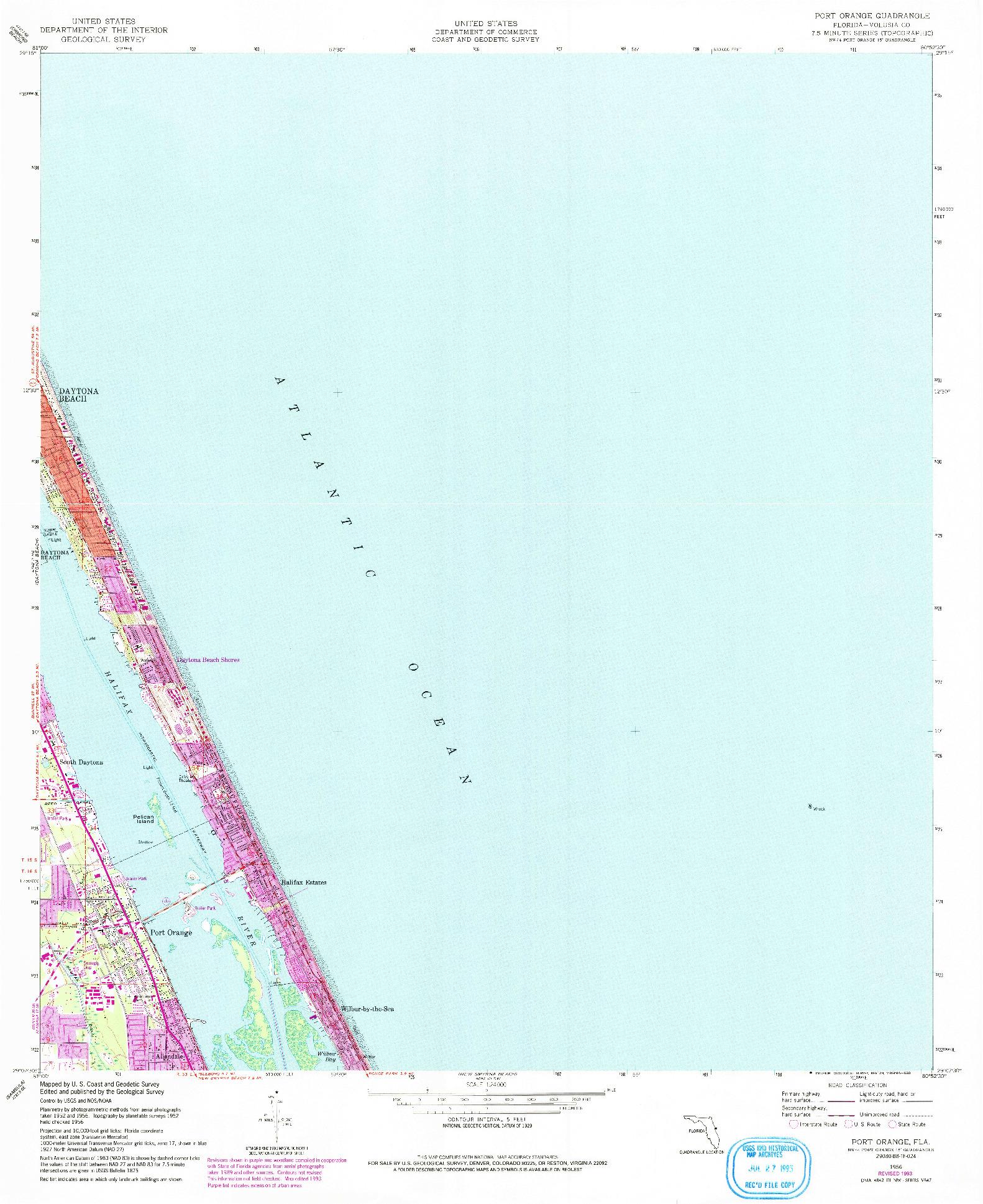 USGS 1:24000-SCALE QUADRANGLE FOR PORT ORANGE, FL 1956
