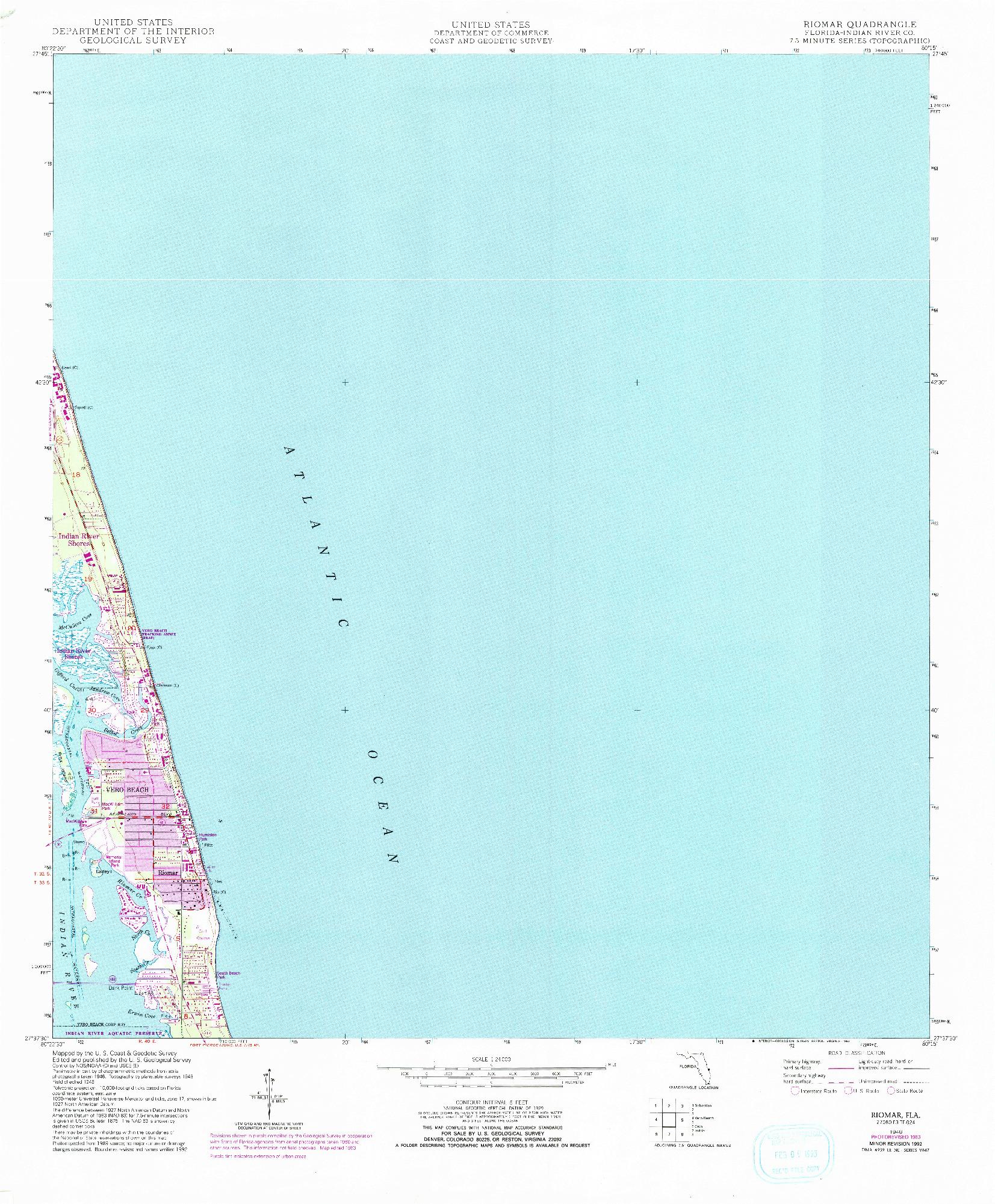 USGS 1:24000-SCALE QUADRANGLE FOR RIOMAR, FL 1948
