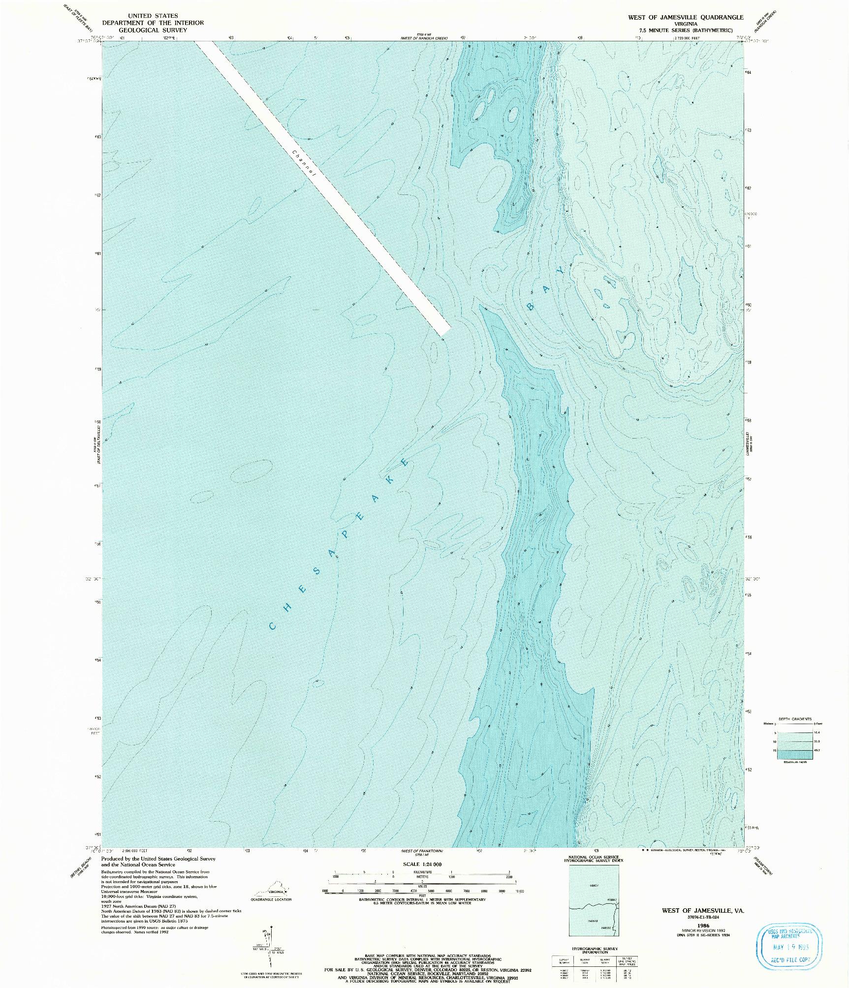 USGS 1:24000-SCALE QUADRANGLE FOR WEST OF JAMESVILLE, VA 1986