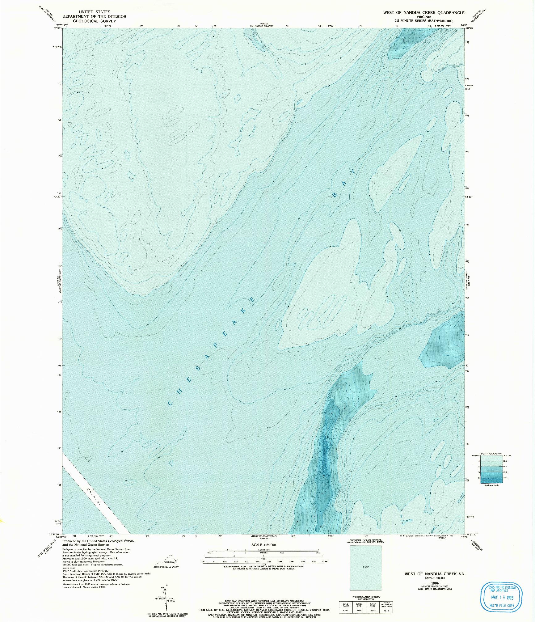 USGS 1:24000-SCALE QUADRANGLE FOR WEST OF NANDUA CREEK, VA 1986