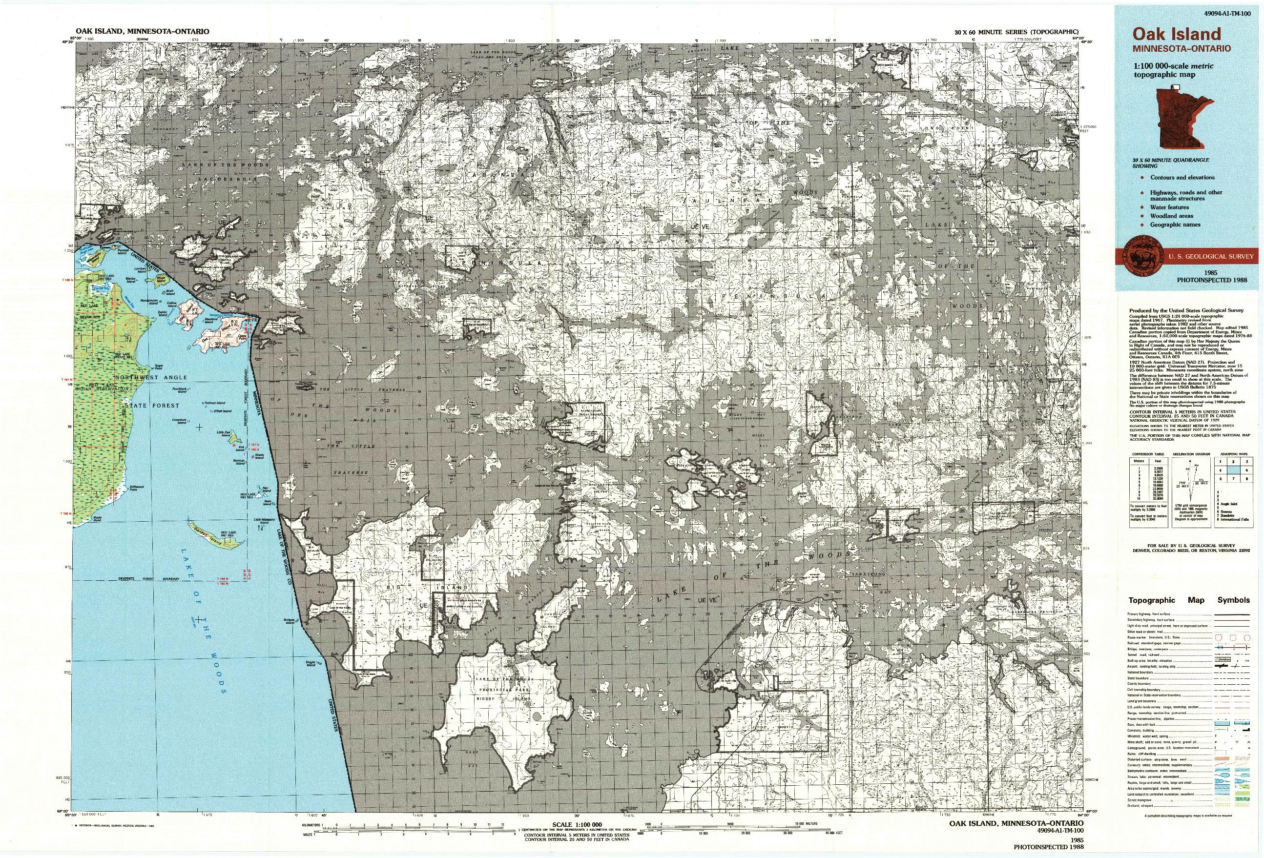 USGS 1:100000-SCALE QUADRANGLE FOR OAK ISLAND, MN 1985