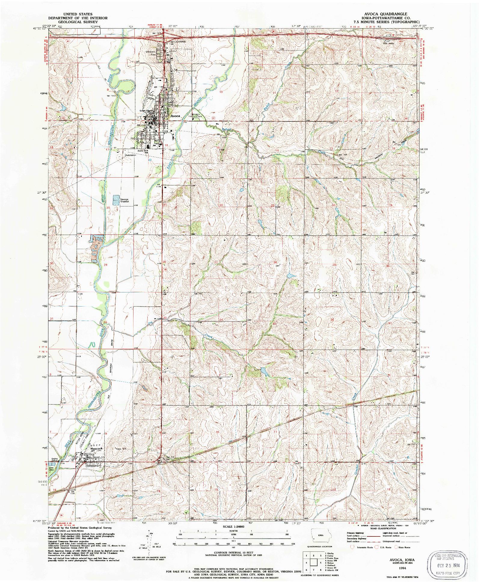 USGS 1:24000-SCALE QUADRANGLE FOR AVOCA, IA 1994