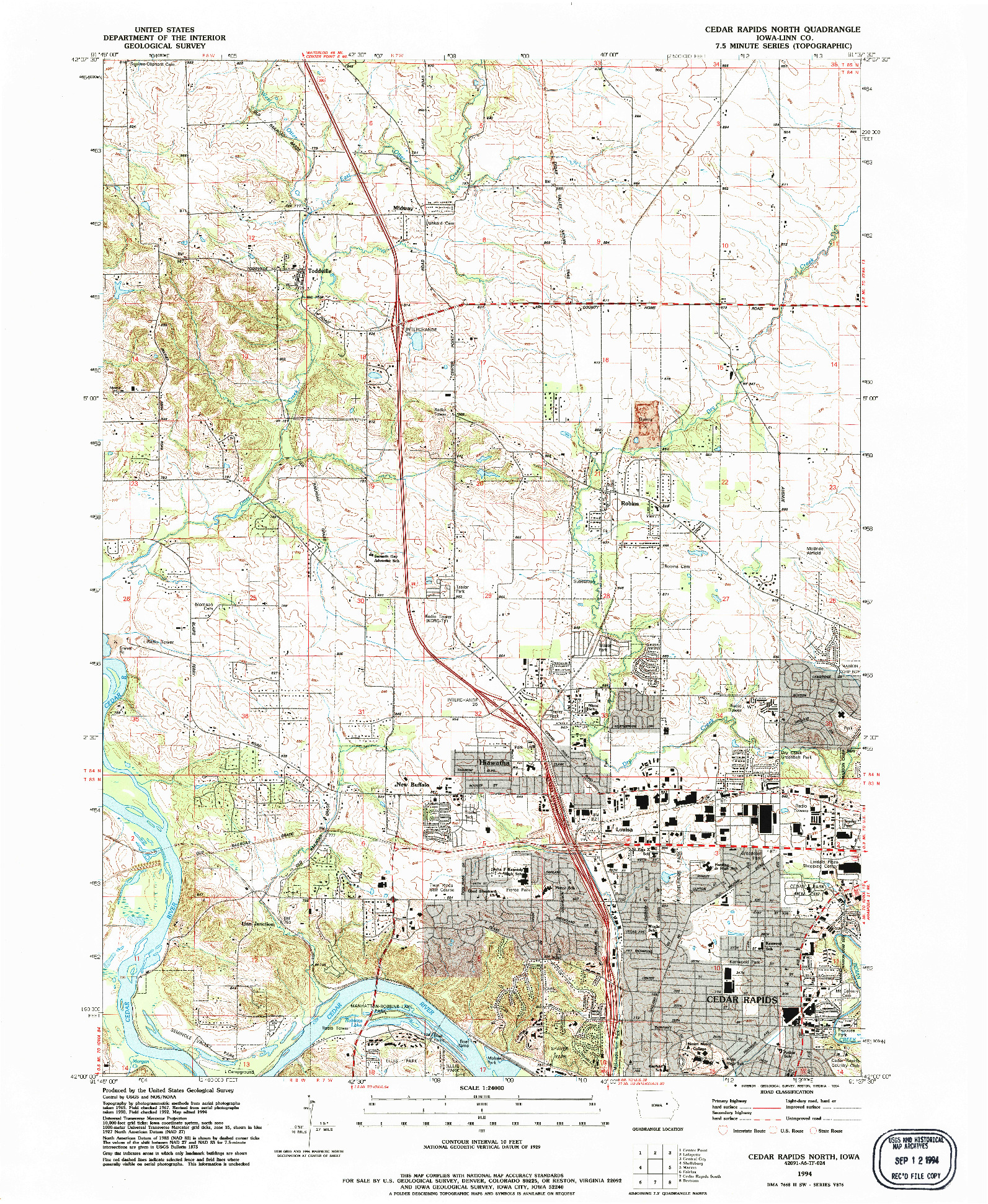 USGS 1:24000-SCALE QUADRANGLE FOR CEDAR RAPIDS NORTH, IA 1994