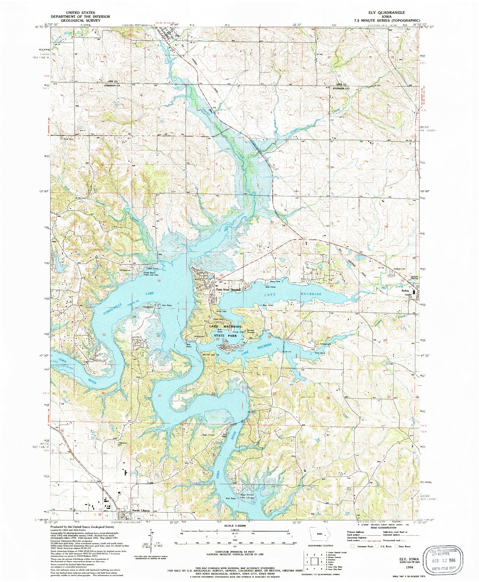 USGS 1:24000-SCALE QUADRANGLE FOR ELY, IA 1994