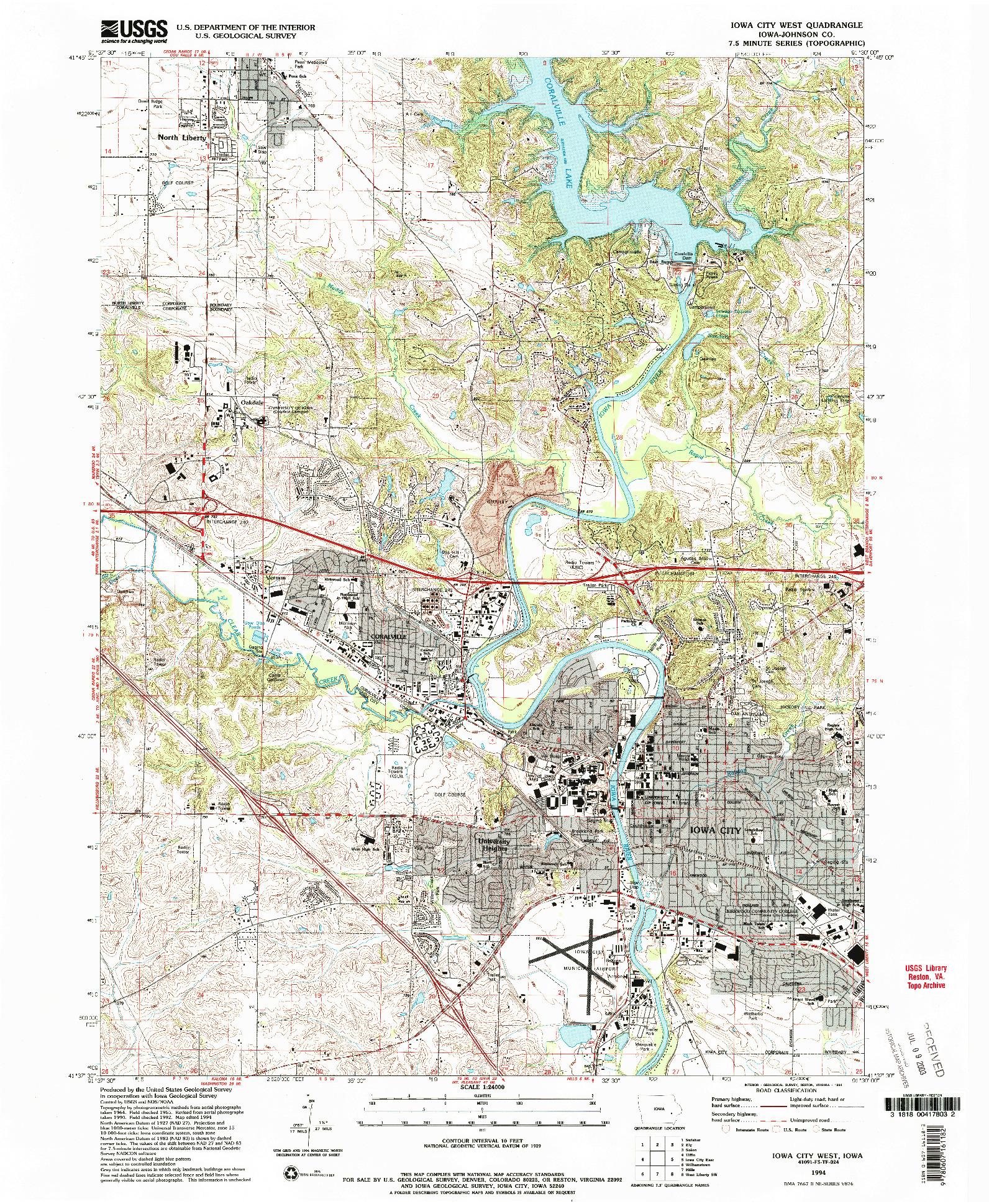USGS 1:24000-SCALE QUADRANGLE FOR IOWA CITY WEST, IA 1994