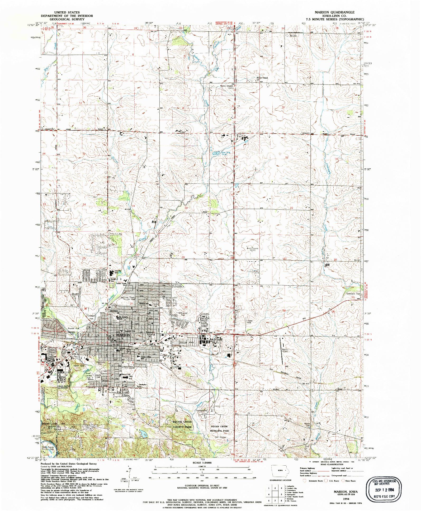 USGS 1:24000-SCALE QUADRANGLE FOR MARION, IA 1994