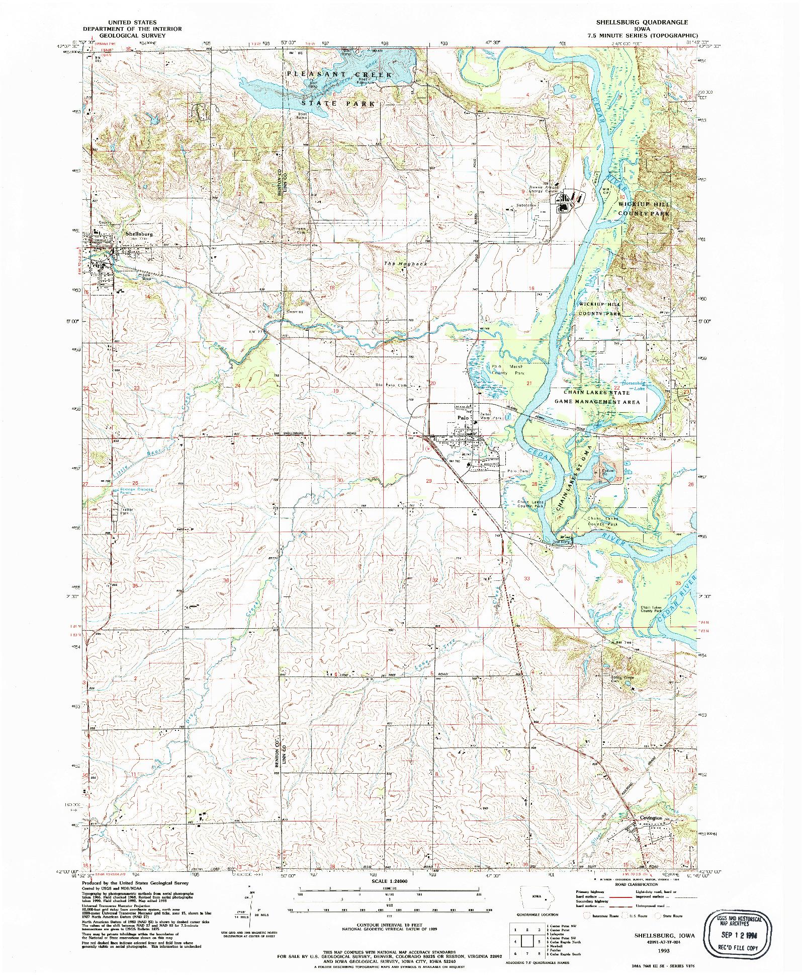 USGS 1:24000-SCALE QUADRANGLE FOR SHELLSBURG, IA 1993