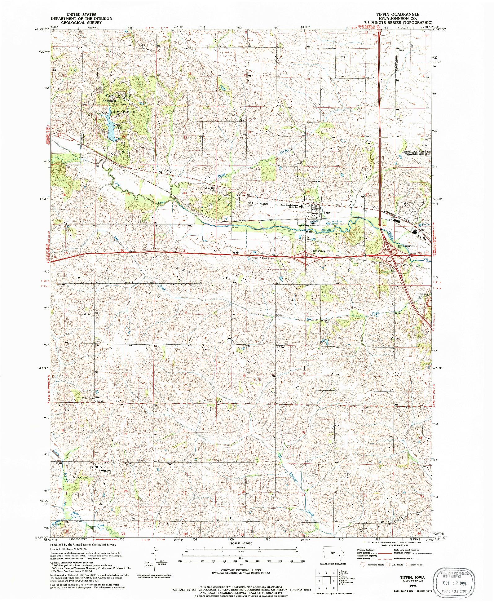USGS 1:24000-SCALE QUADRANGLE FOR TIFFIN, IA 1994