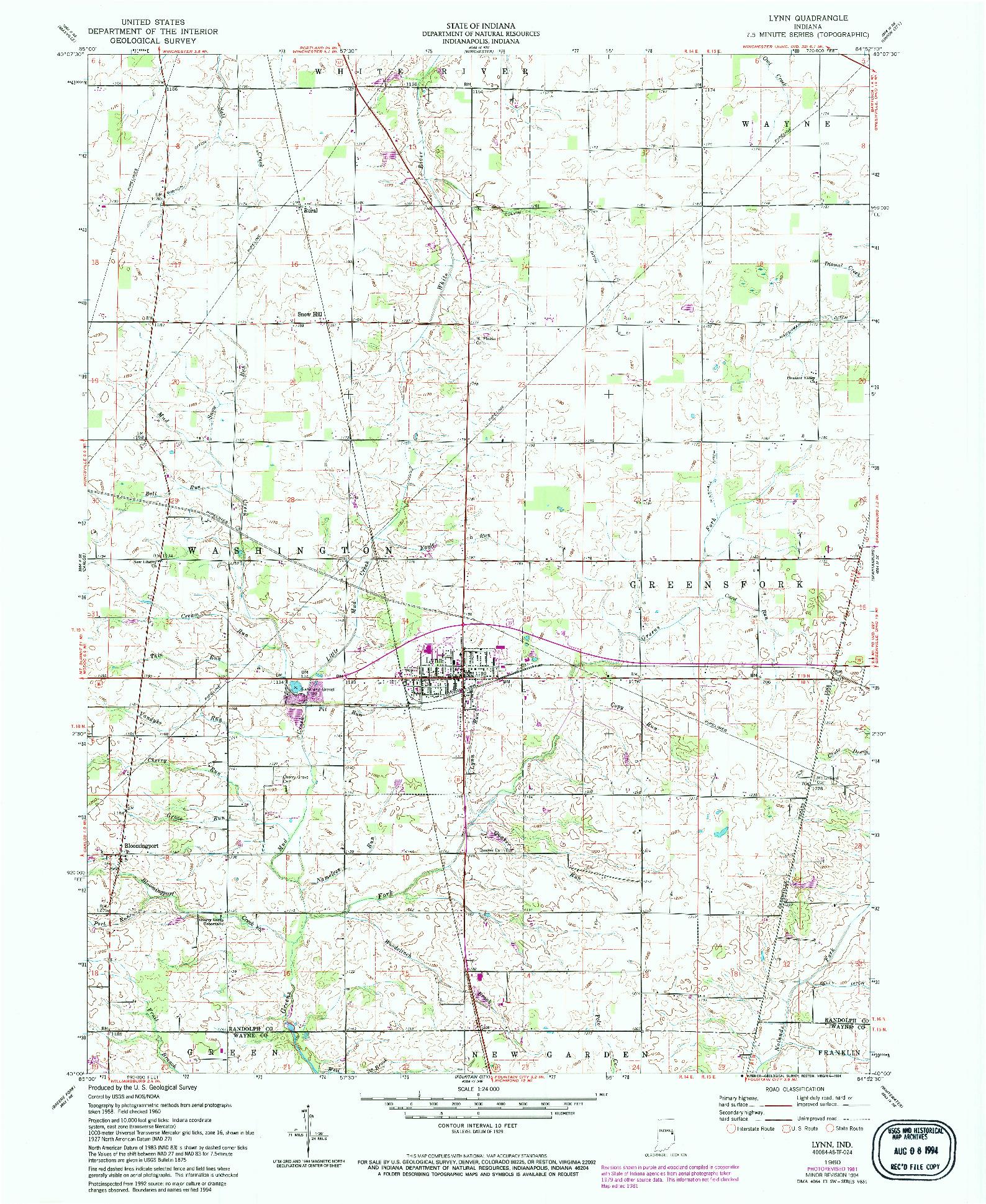 USGS 1:24000-SCALE QUADRANGLE FOR LYNN, IN 1960
