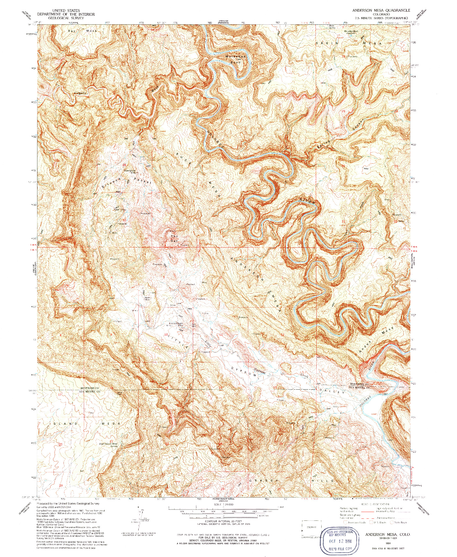 USGS 1:24000-SCALE QUADRANGLE FOR ANDERSON MESA, CO 1994
